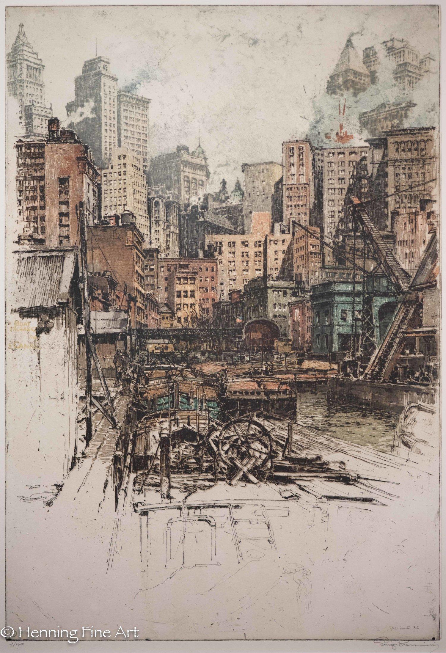 "Luigi Kasimir ""Lower Manhattan Docks"" 1927  (1-3)"