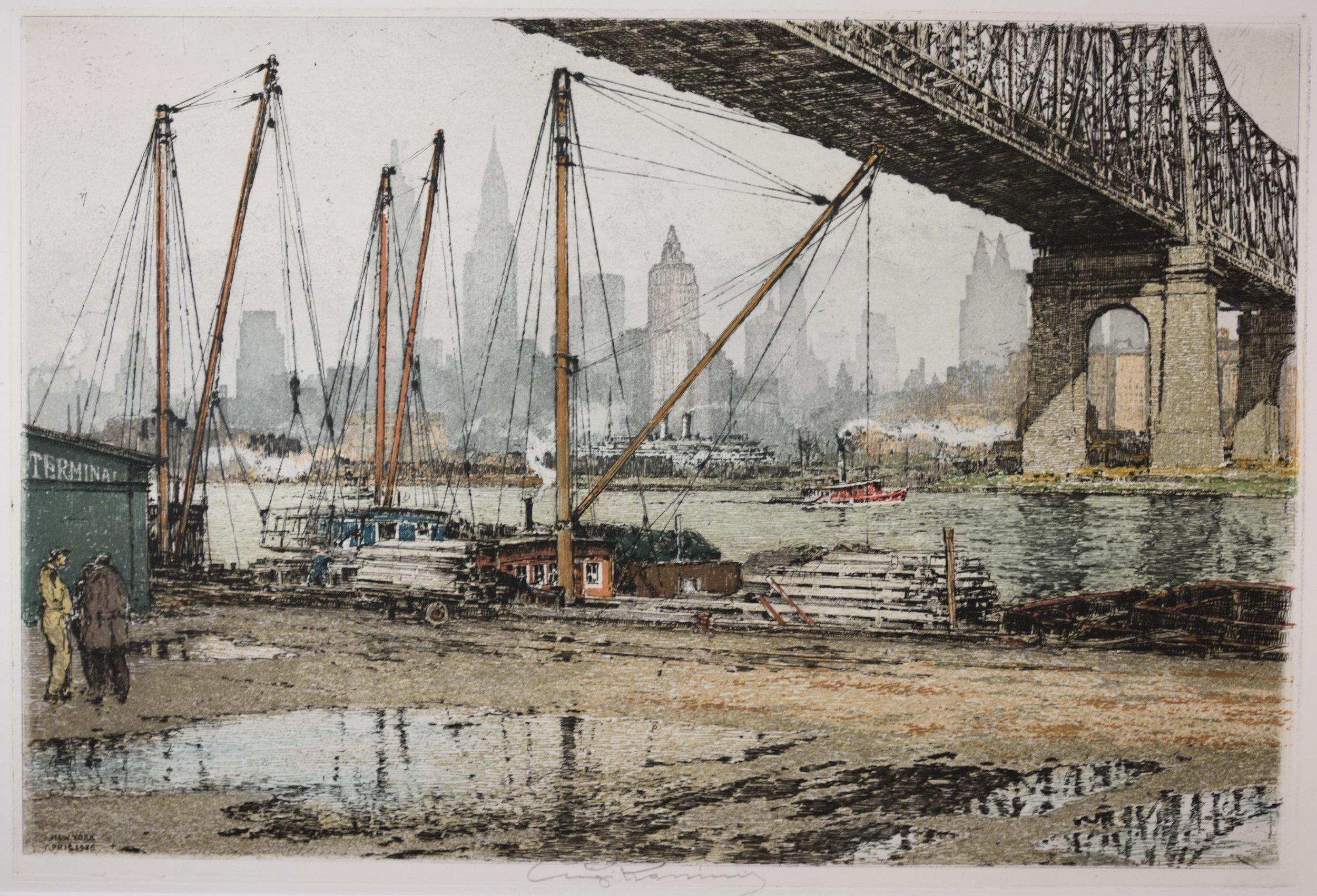 """Luigi Kasimir """"Queensborough Bridge"""" 1936 (1-6)"""