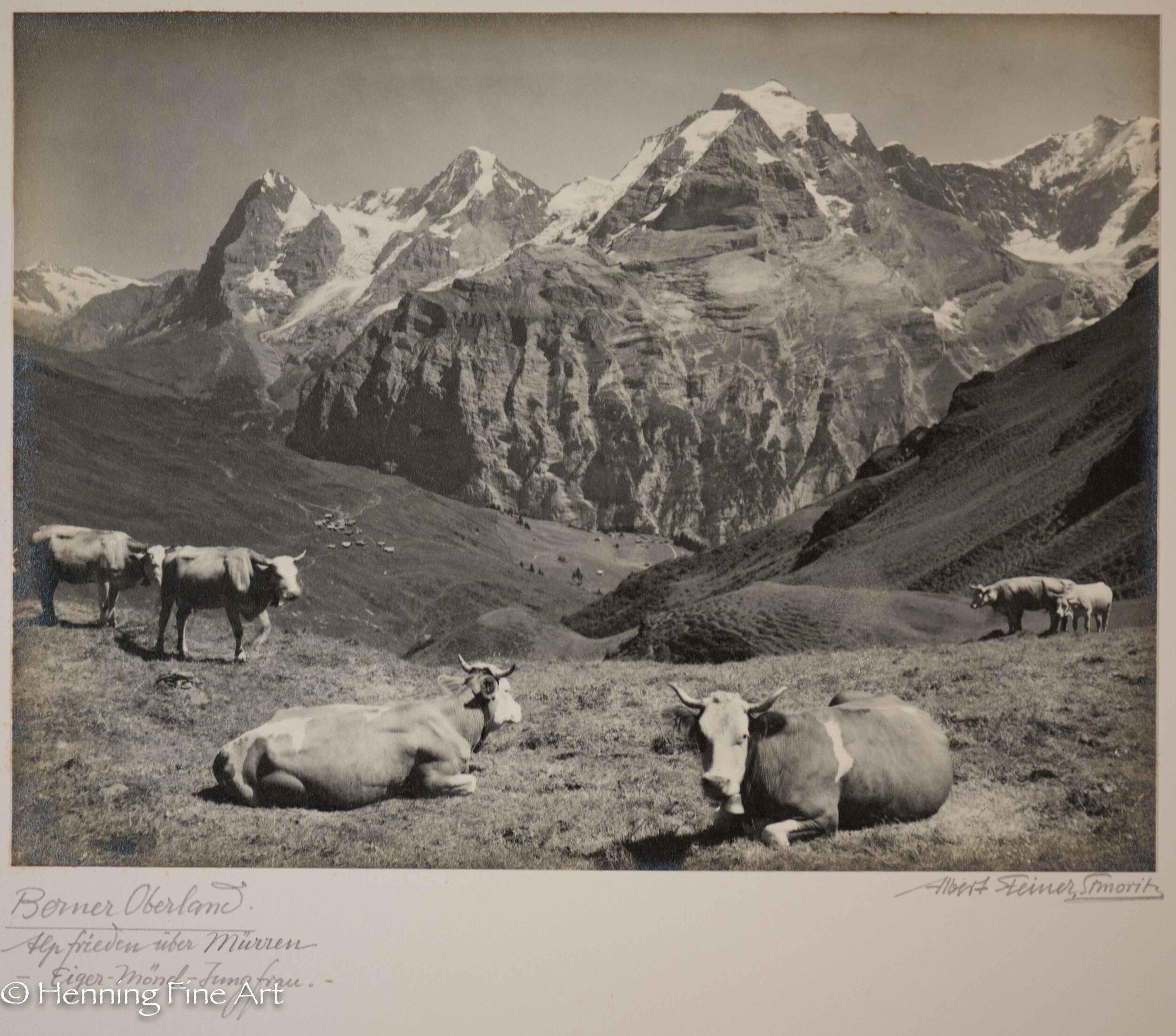 """Albert Steiner (1877 - 1965) """"Berner Oberland. Alpfrieden uber Murren mit Eiger - Monch - Jungfrau.""""  Image (2-2)"""