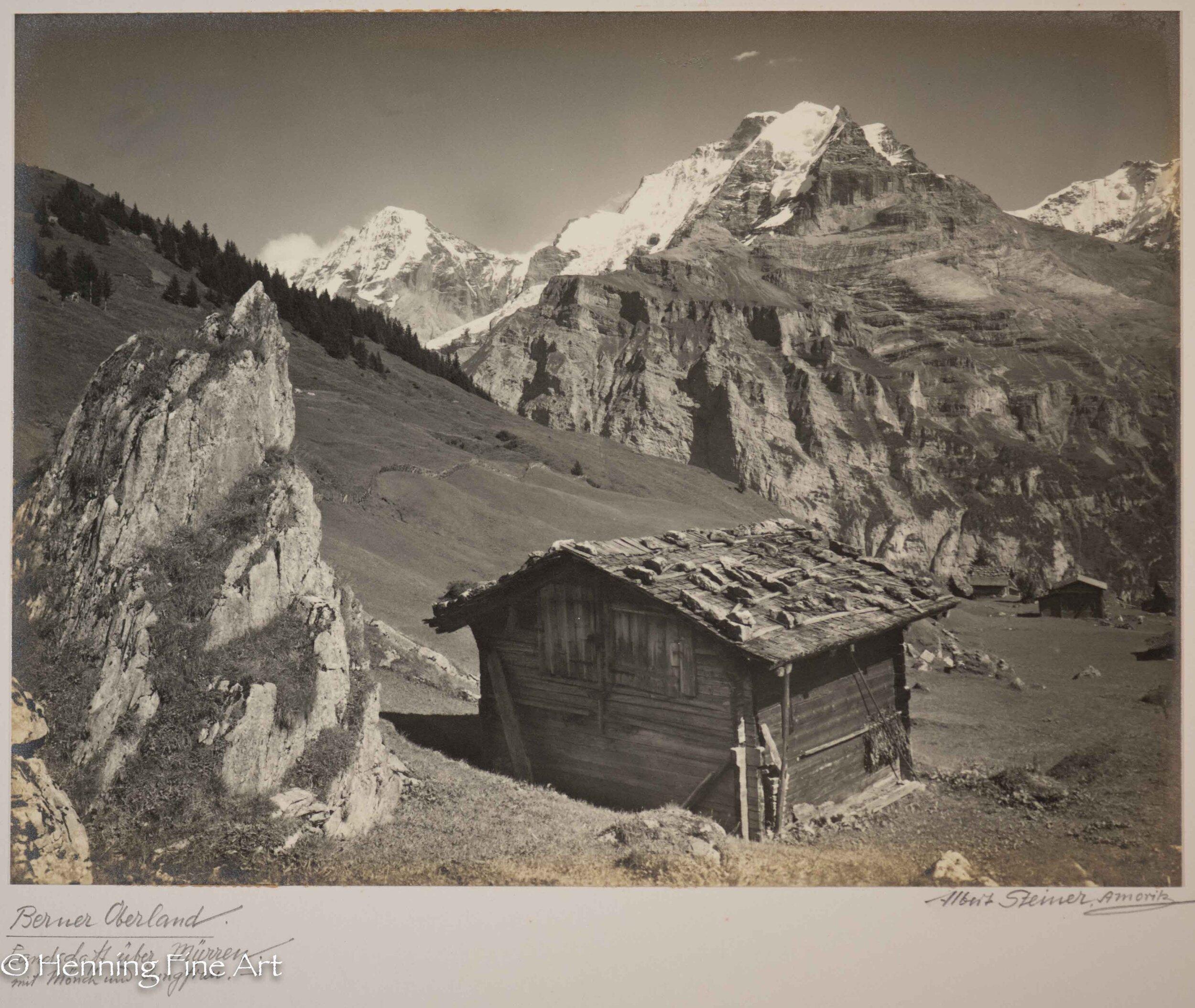 """Albert Steiner (1877 - 1965) """"Berner Oberland. Landschaft uber Murren mit Monch und Jungfrau.""""  Image (3-1)"""