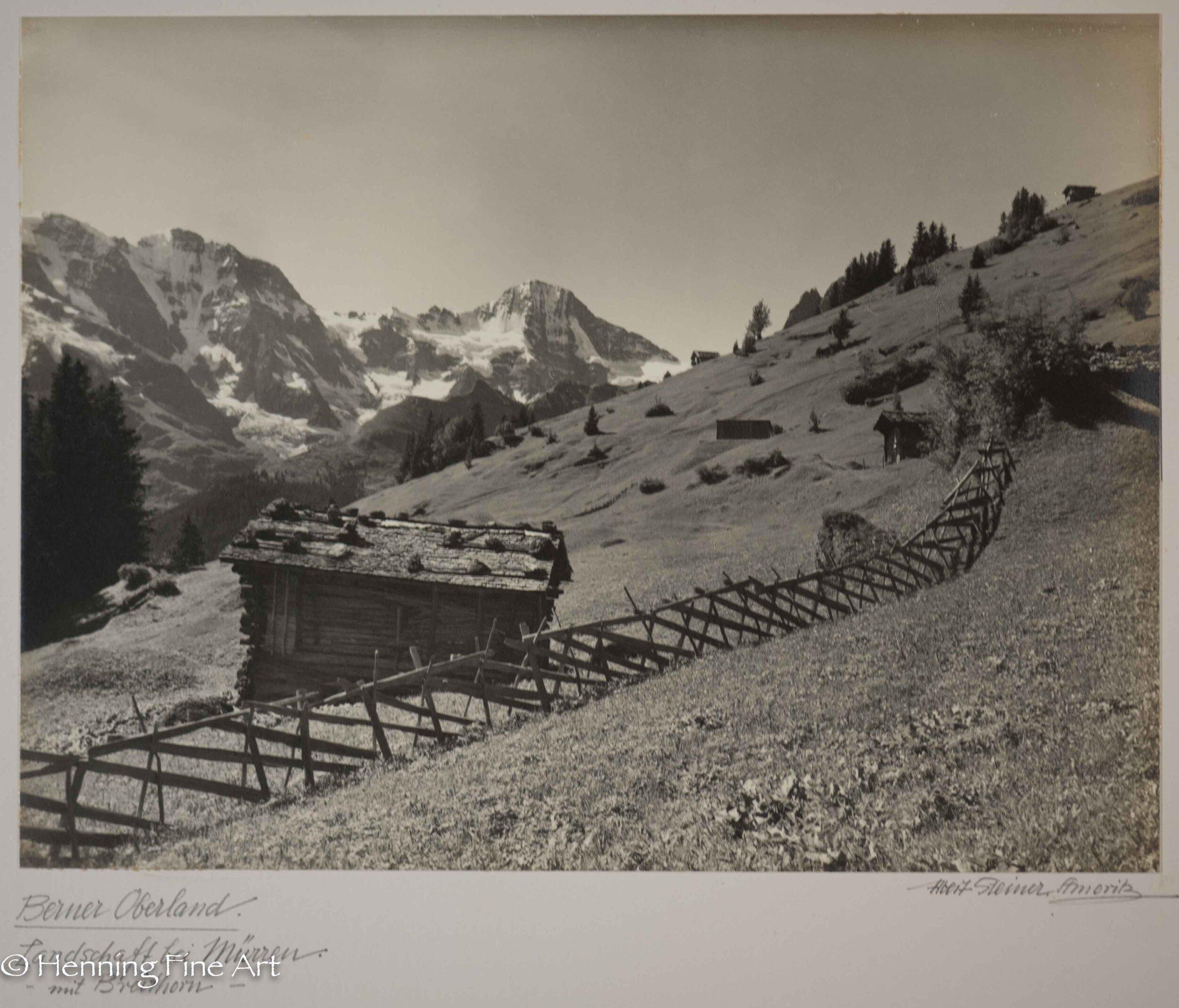 """Albert Steiner (1877 - 1965) """"Berner Oberland. Landschaft bei Murren Mit Breithorn.""""  Image (3-2)"""