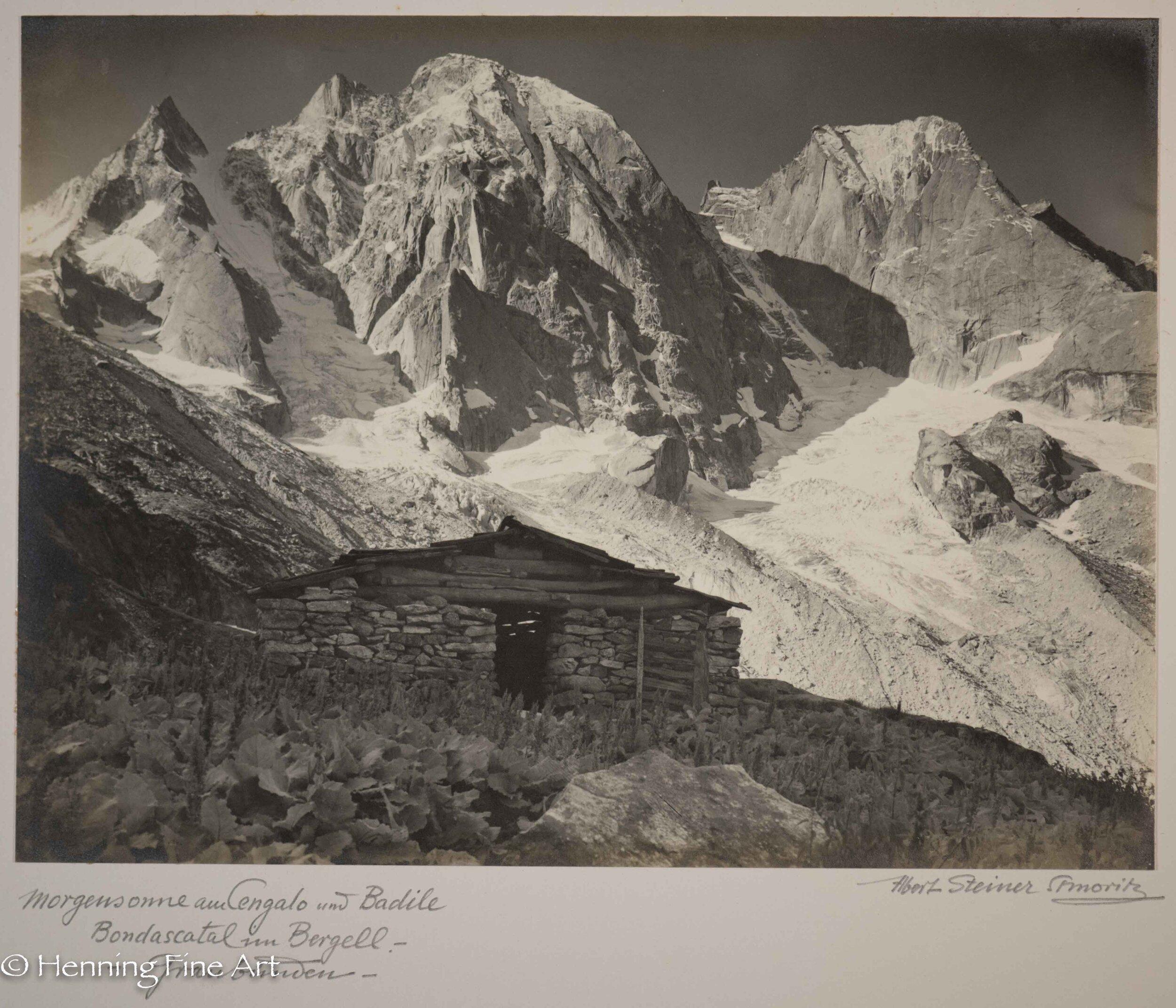 """Albert Steiner (1877 - 1965) """"Morgensonne am Cengalo und Badile Bondascattal im Bergell. - - Graubunden -.""""  Image (3-3)"""