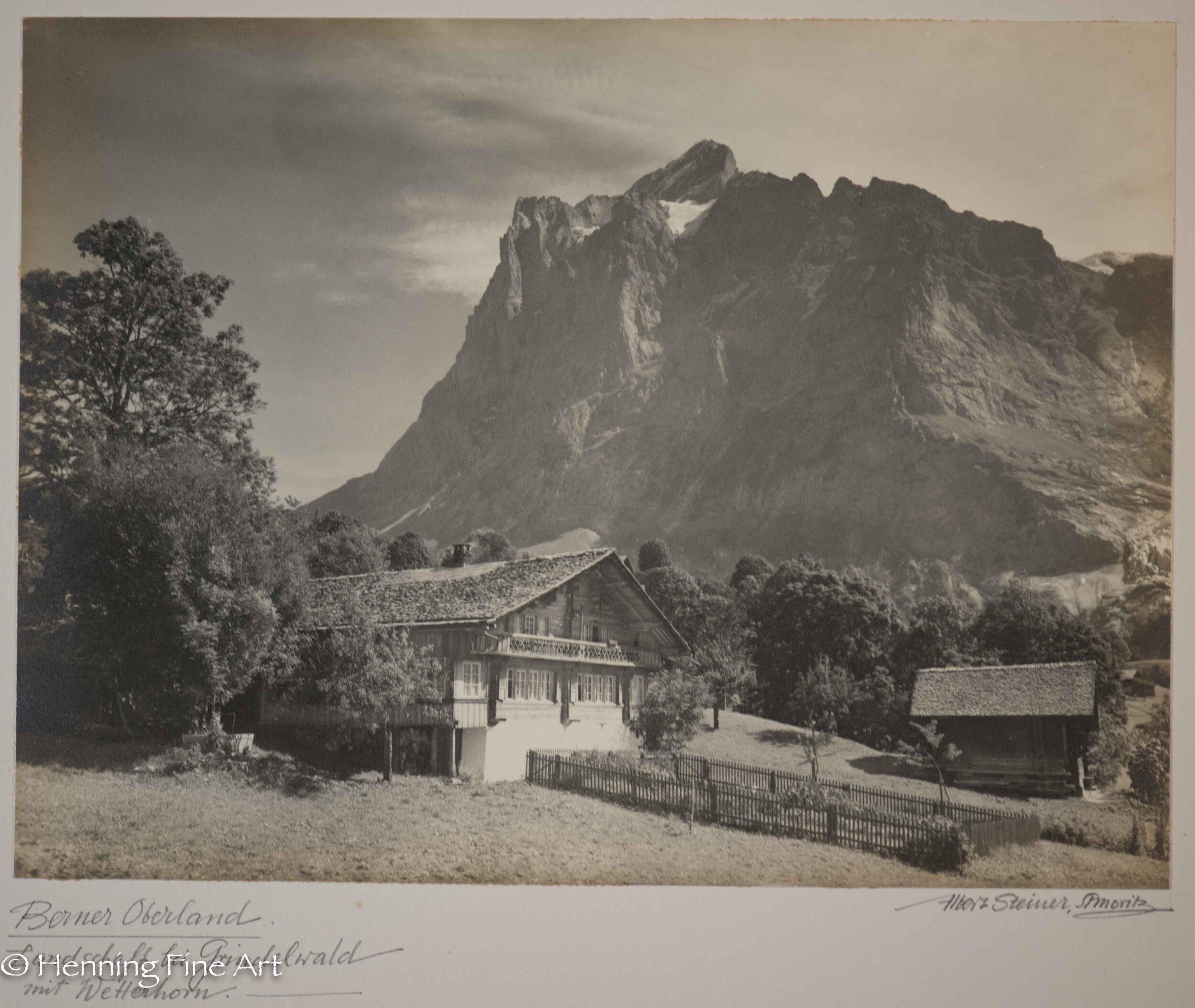 """Albert Steiner (1877 - 1965) """"Berner Oberland. Landschaft bei Grindelwald mit Wetterhorn.-""""  Image (3-4)"""