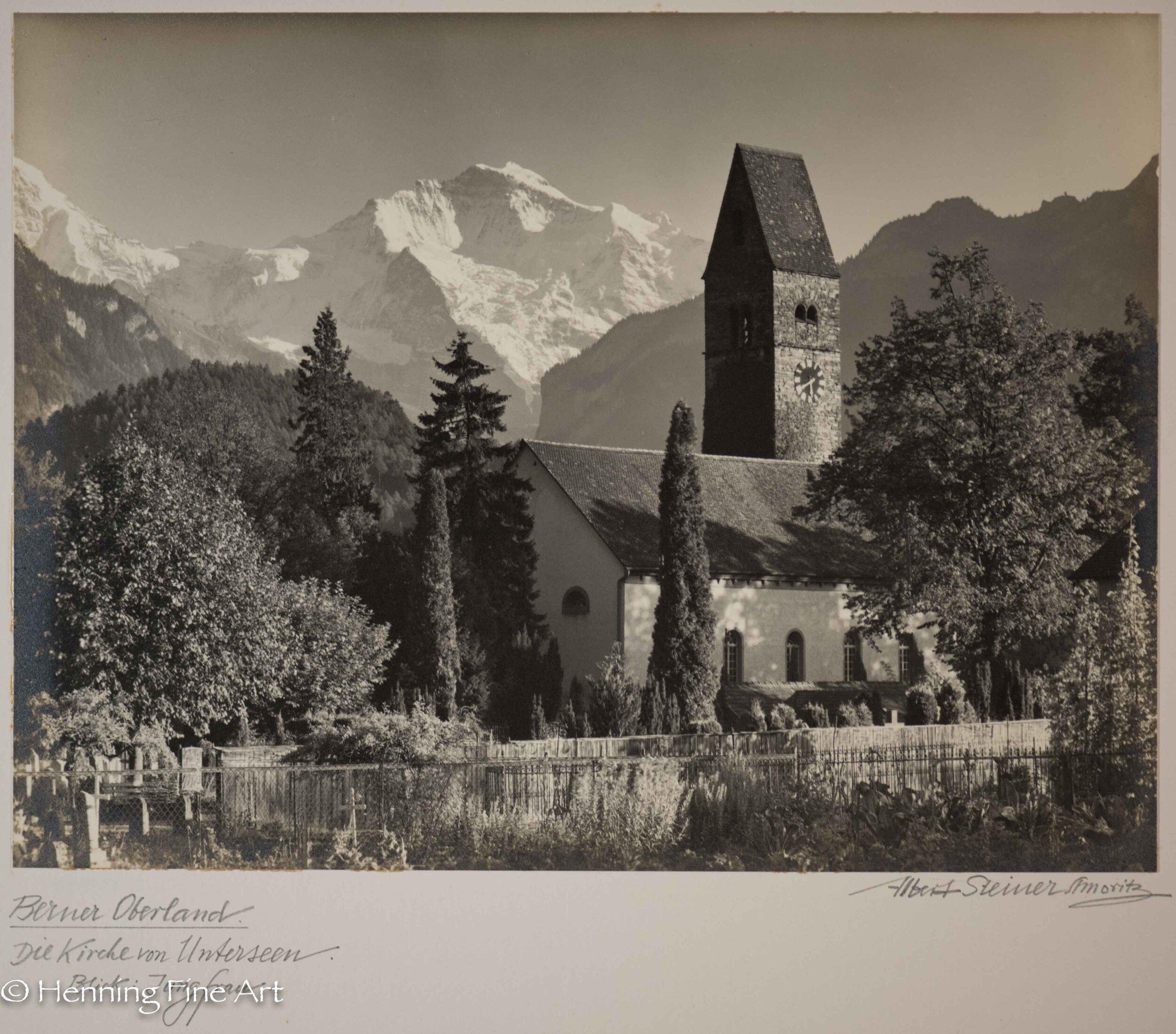 """Albert Steiner (1877 - 1965) """"Berner Oberland. Die Kirche von Unterseen. Blick: Jungfrau.""""  Image (3-6)"""