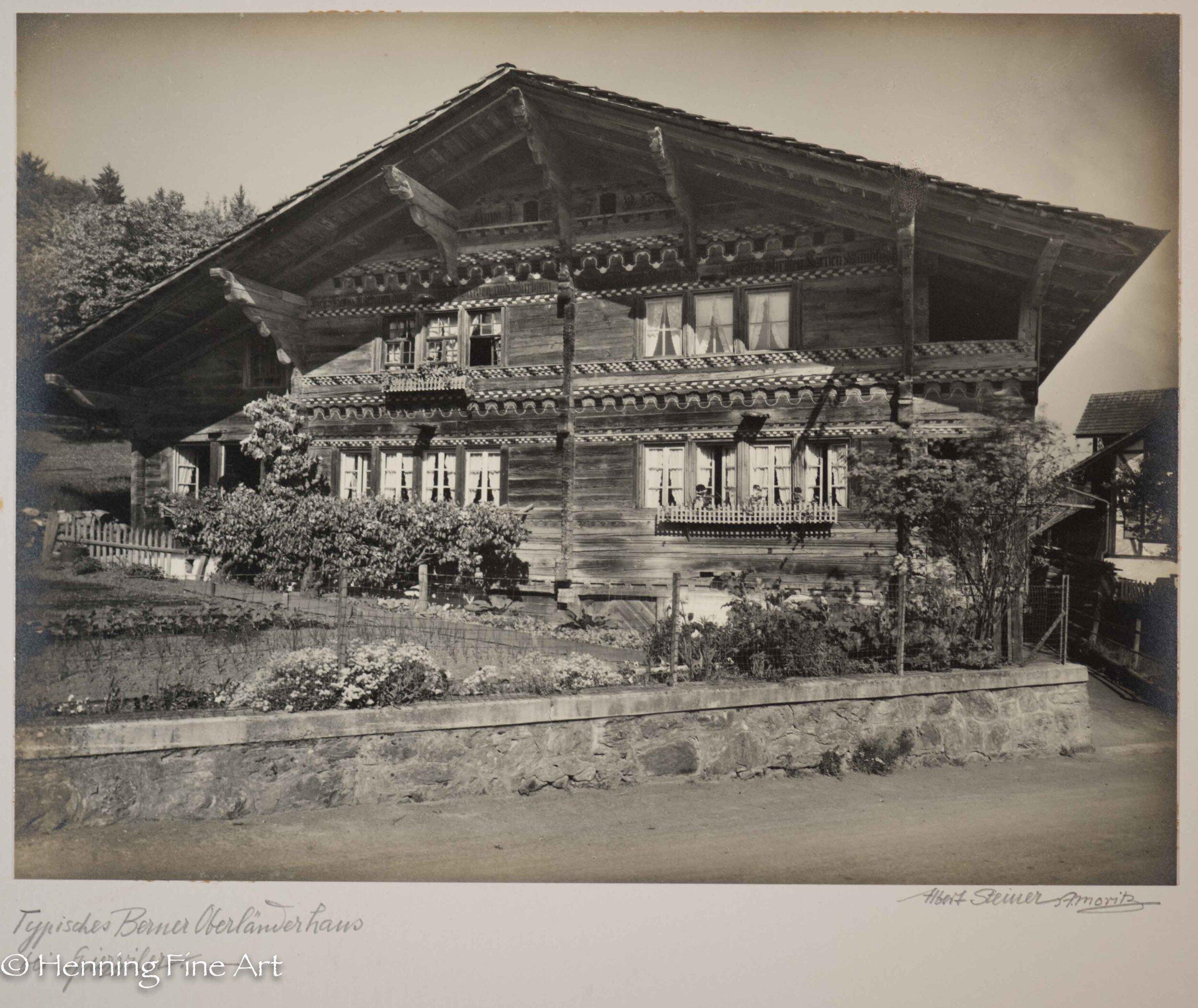 "Albert Steiner (1877 - 1965) ""Typisches Berner Oberlanderhaus bei Spiezwiler.-""  Image (3-8)"