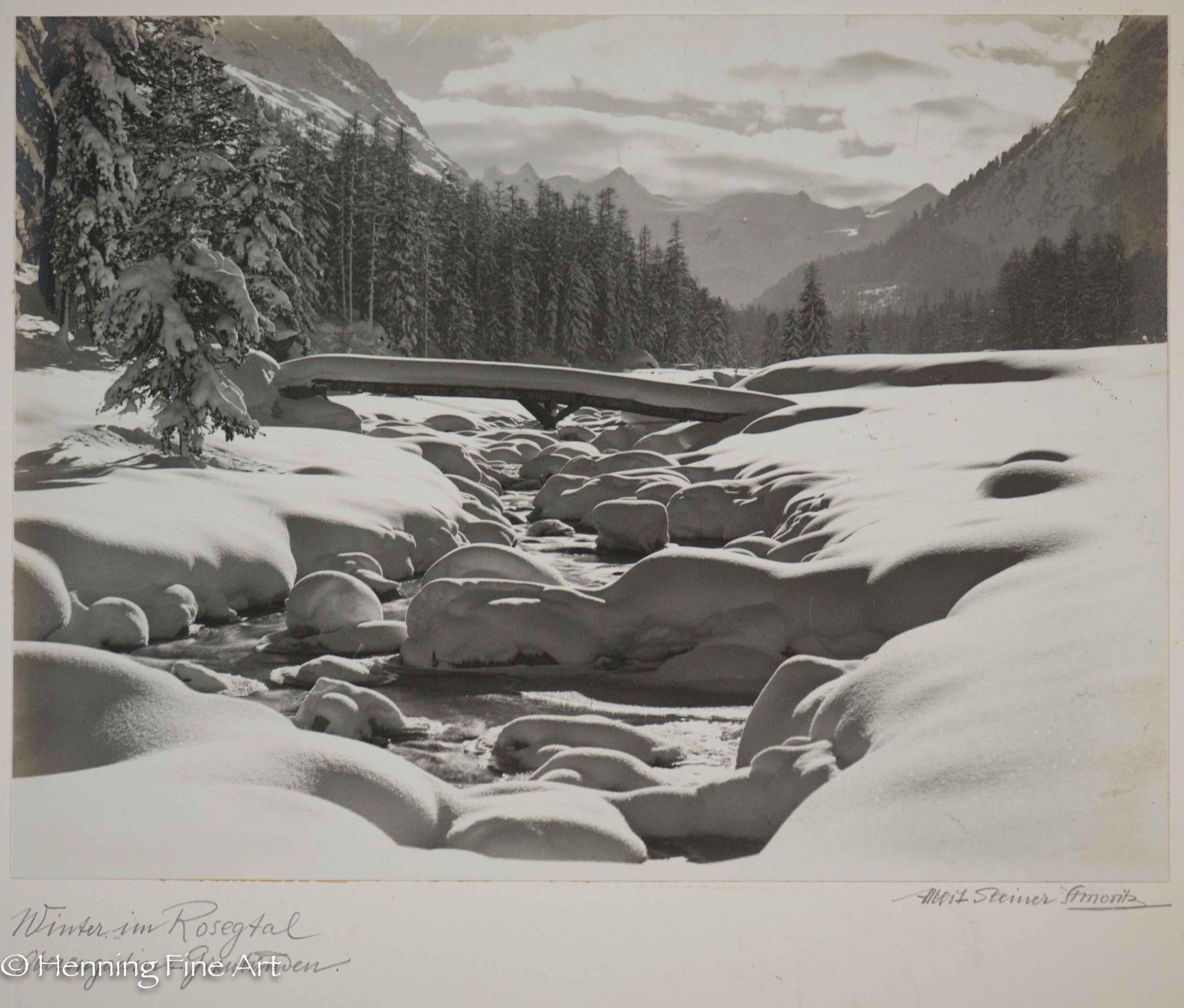 "Albert Steiner (1877 - 1965) ""Winter im Rosegtal. Oberengadin-Graubunden.""  Image (4-2)"