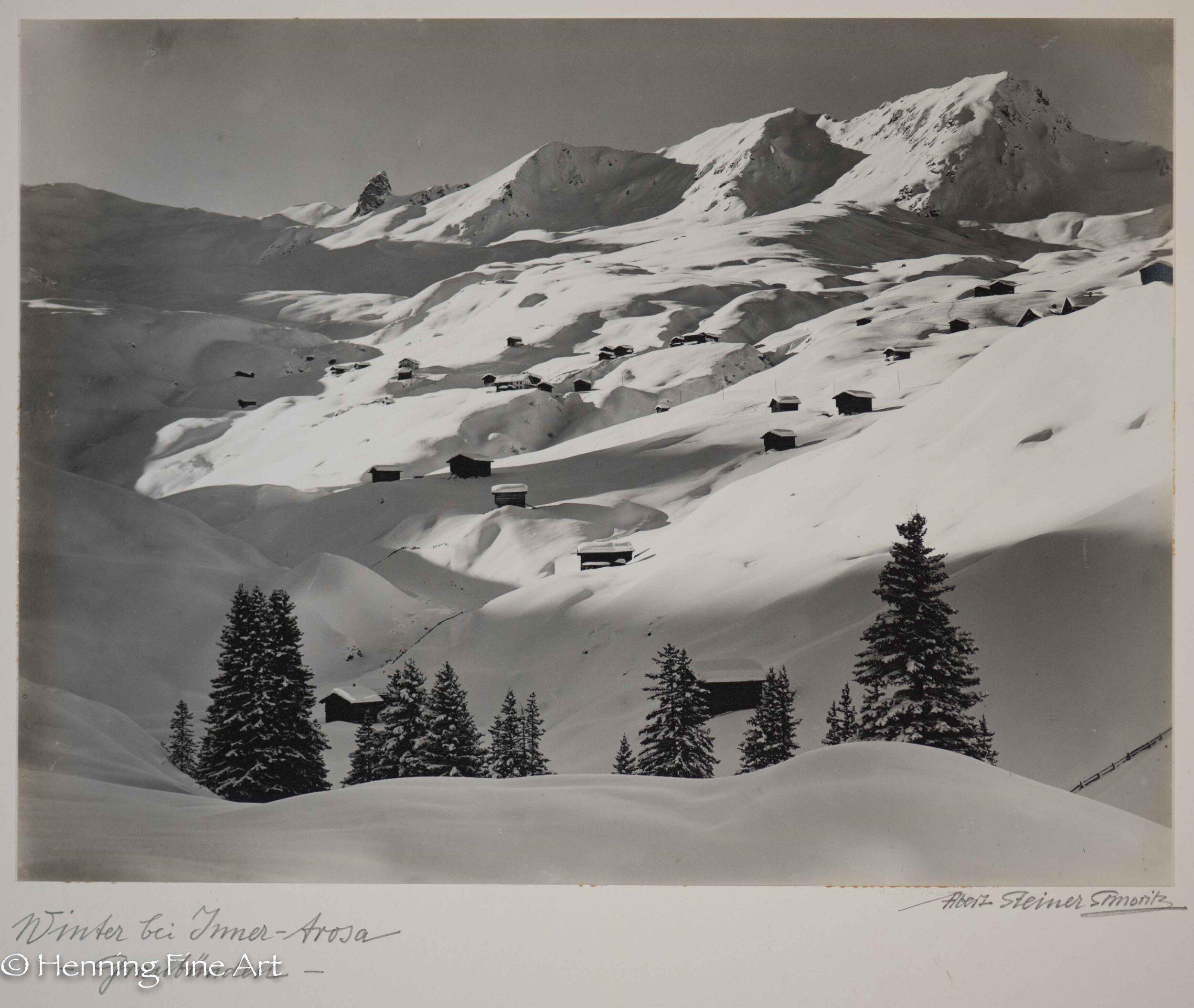 """Albert Steiner (1877 - 1965) """"Winter bei Inner-Arosa - Graubunden -.""""  Image (4-3)"""