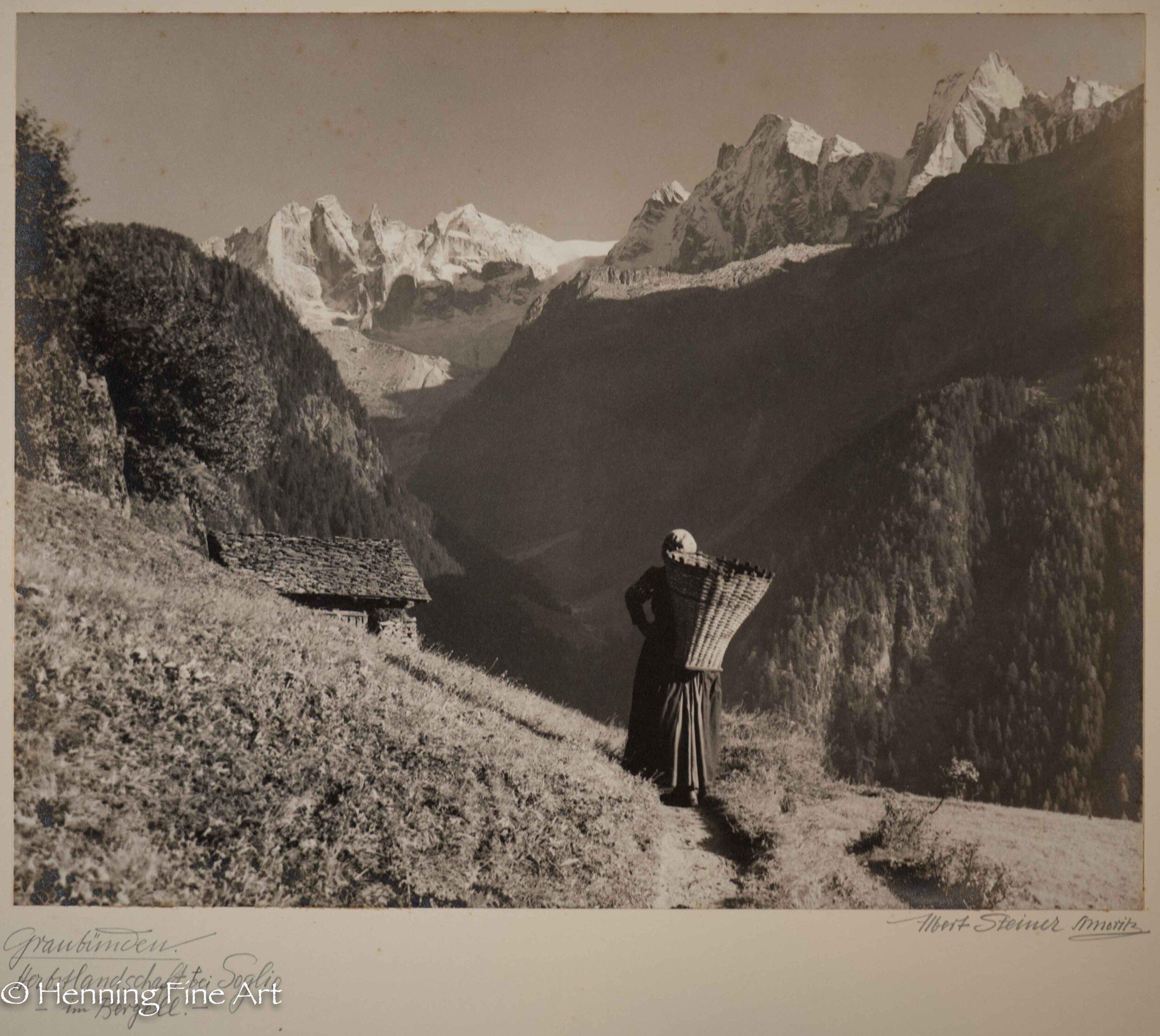 """Albert Steiner (1877 - 1965) """"Graubunden. Herbstlandschaft bei Soglio - im Bergell.-""""  Image (6-1)"""