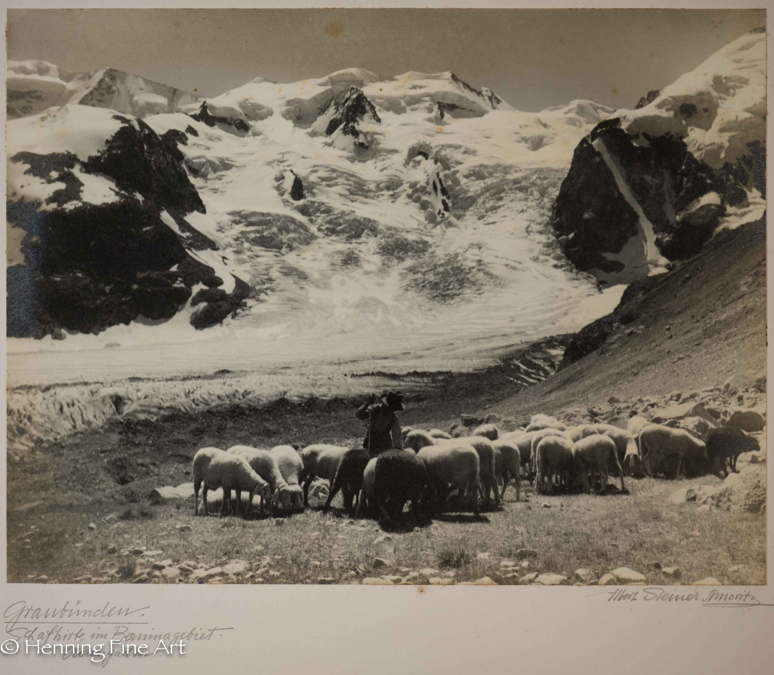 "Albert Steiner (1877 - 1965) ""Graudunden. Schafhirte im Berninagebiet. - Oberengaden.""  Image (6-3)"