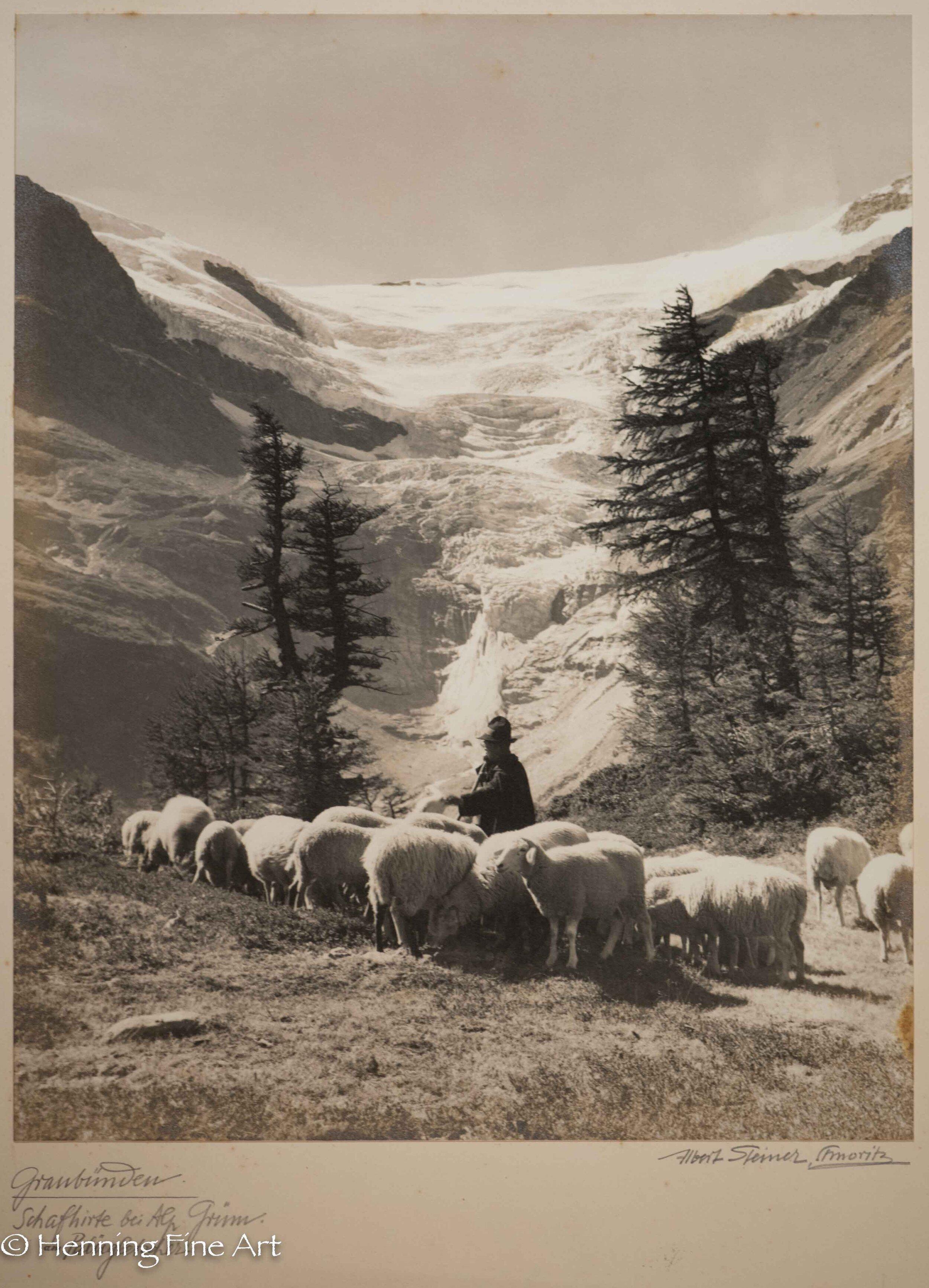 """Albert Steiner (1877 - 1965) """"Graubunden. Schafhirte bei Alp Grum. Am Palugletscher.""""  Image (6-4)"""