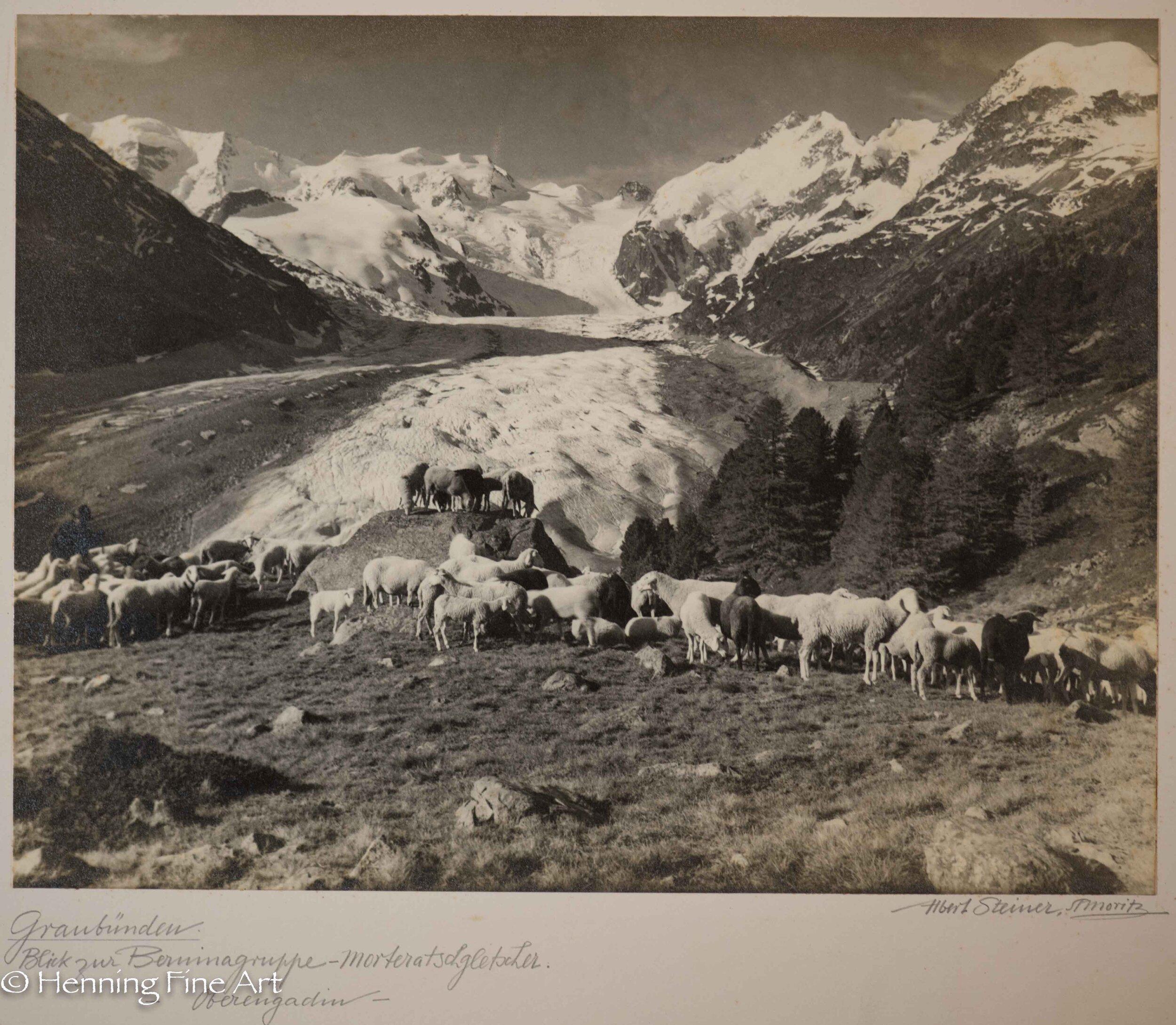 """Albert Steiner (1877 - 1965) """"Graubunden. Blick zur Berninagruppe - Morteratschgletscher. - Oberengadin-""""  Image (6-5)"""