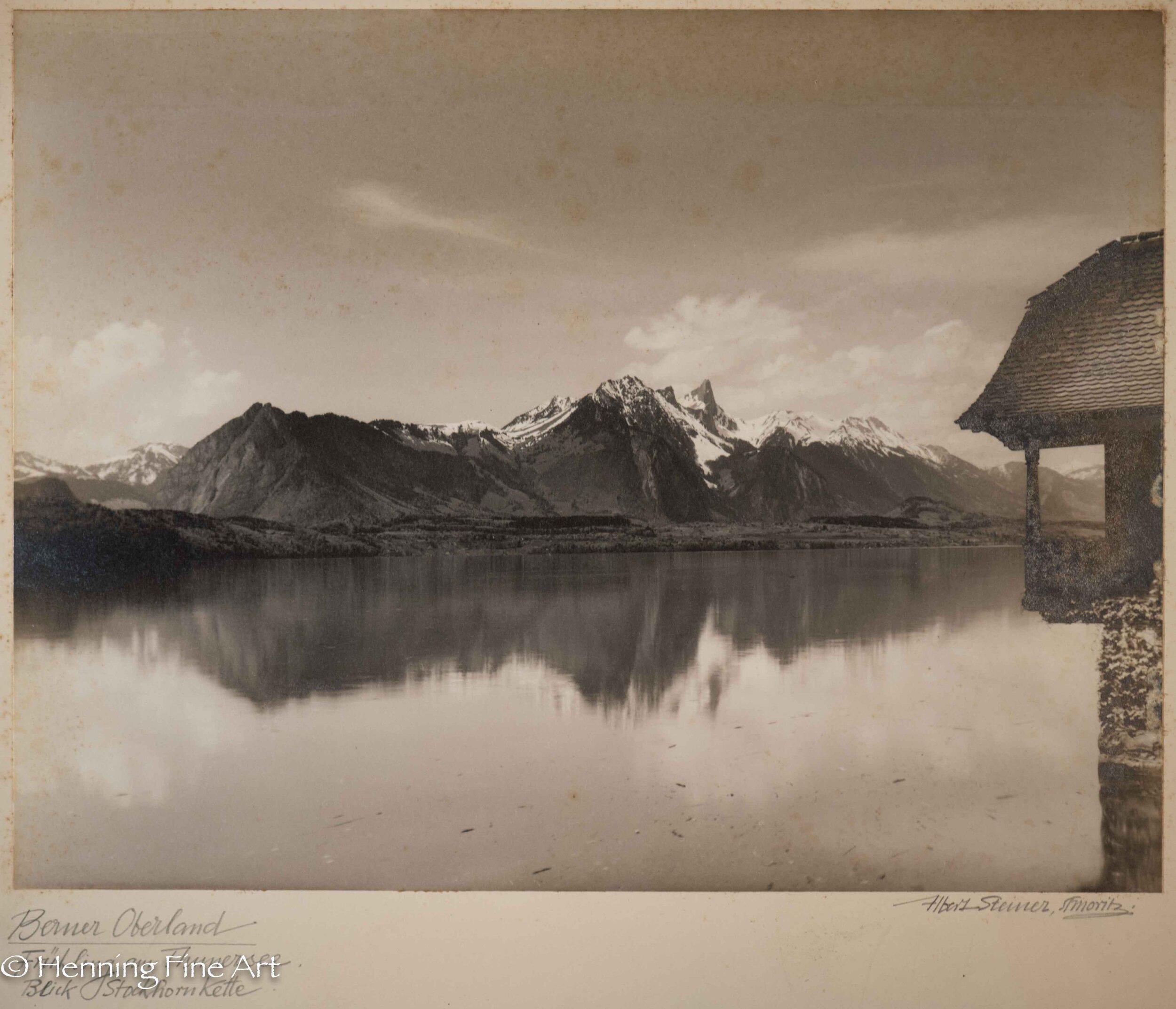 """Albert Steiner (1877 - 1965) """"Berner Oberland. Fruhling am Thunersee. - Blick Stockhornkette.""""  Image (6-7)"""