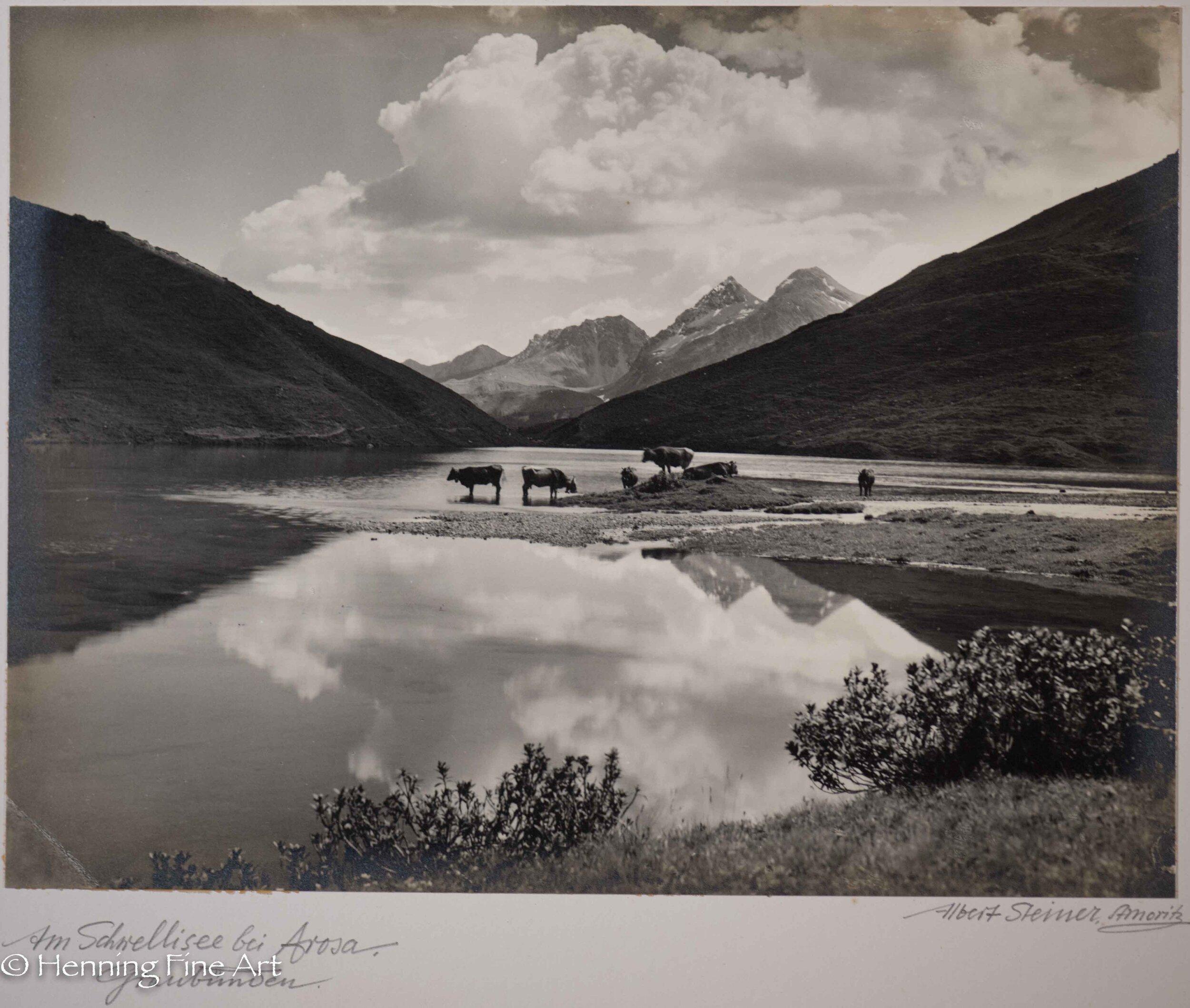 """Albert Steiner (1877 - 1965) """"Am Schnellisee bei Arosa. Graubunden.""""  Image (2-4)"""