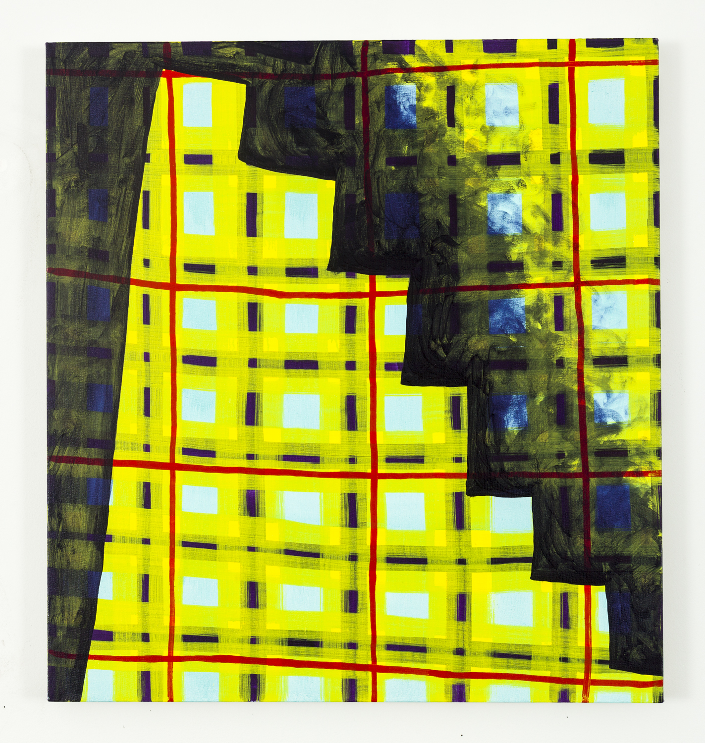 """Untitled (Yellow plaid stairs), oil on canvas, 26"""" x 28"""", 2014"""