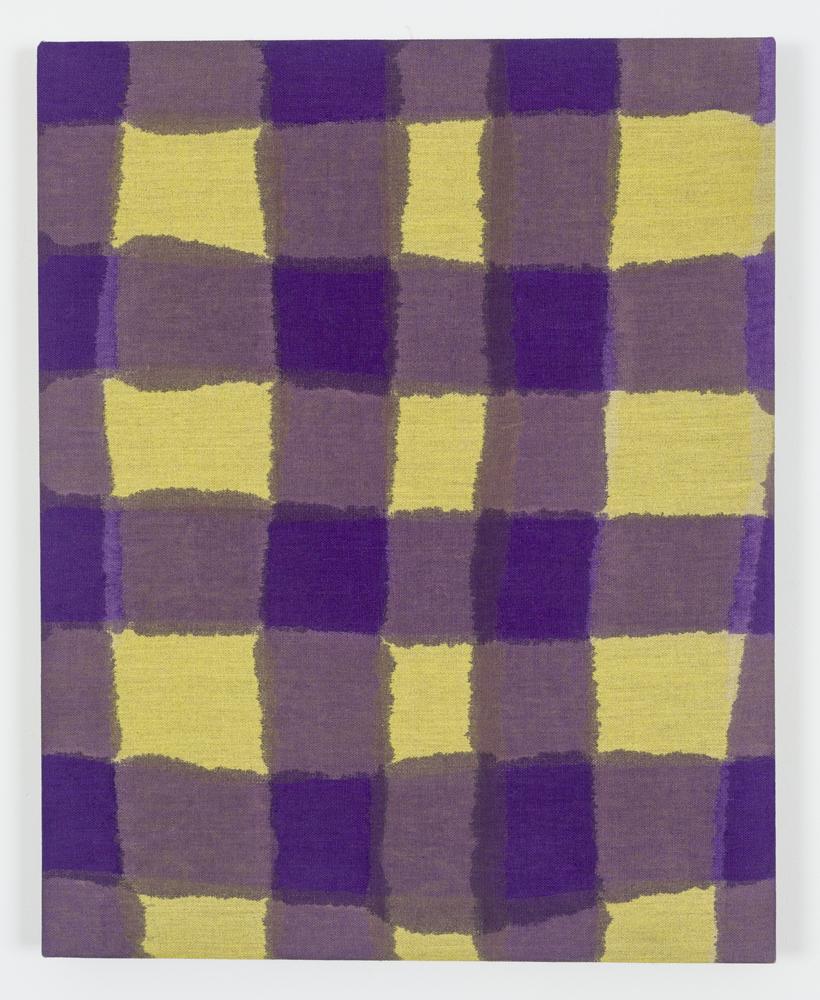 "Untitled (Yellow/Purple Plaid), Acrylic on Unprimed Linen, 30"" x 24"", 2015"