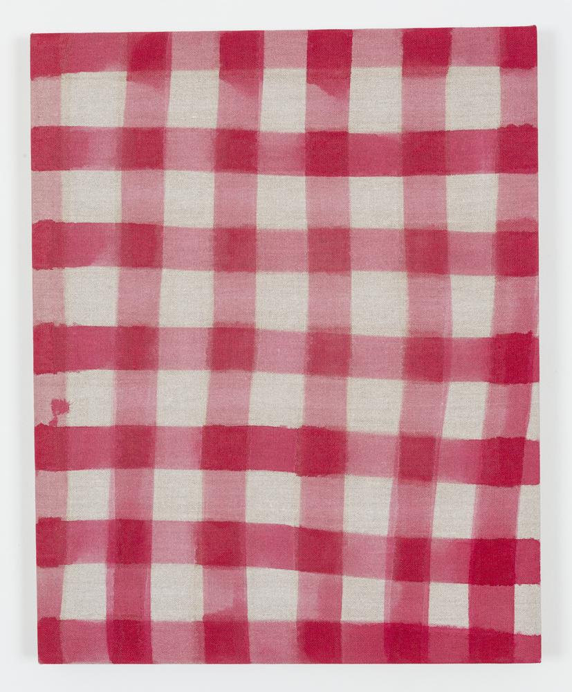 "Untitled (Tablecloth), Acrylic on Unprimed Linen, 30"" x 24"", 2015"