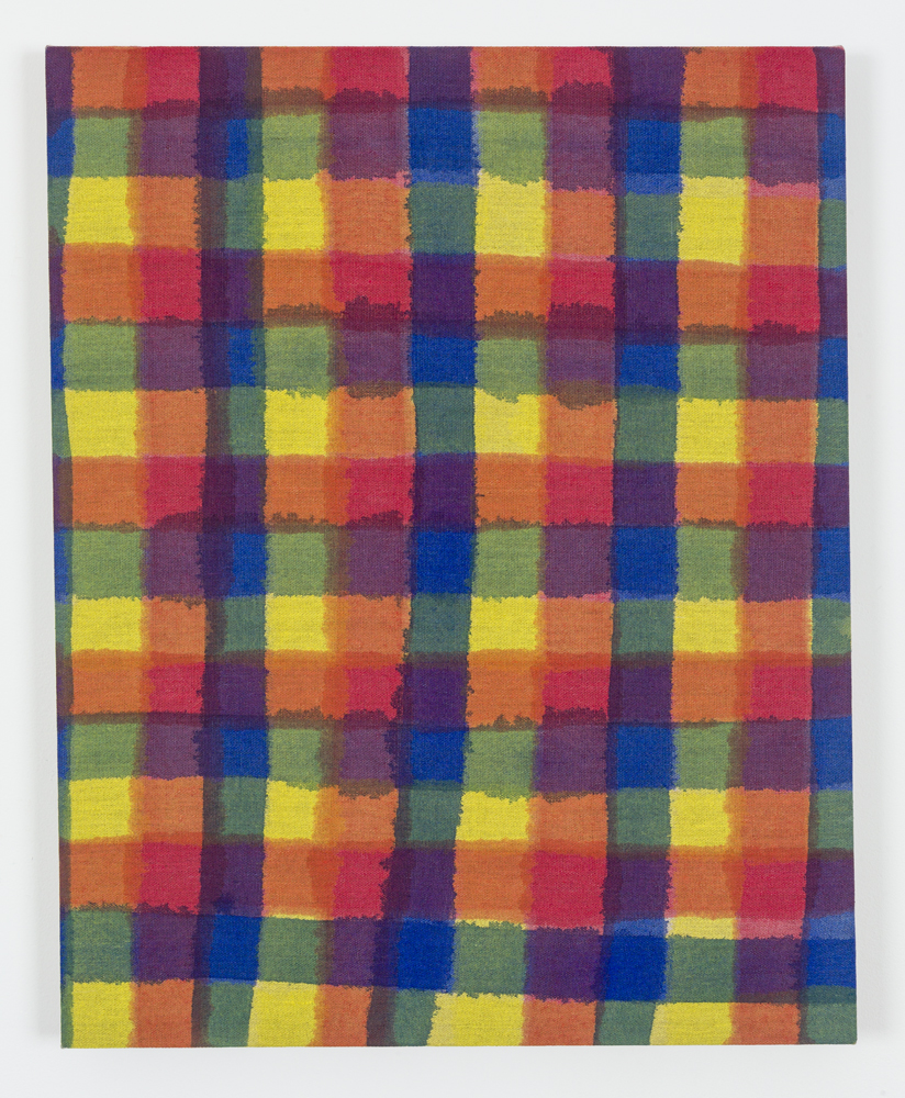 """Untitled (Primary Plaid), Acrylic on Unprimed Linen, 30"""" x 24"""", 2015"""