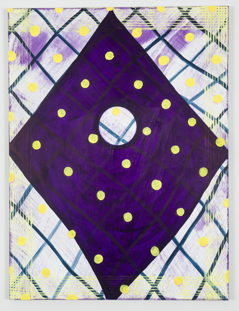 """Untitled (Yellow Dots), Oil on Canvas, 36"""" x 48"""", 2015"""