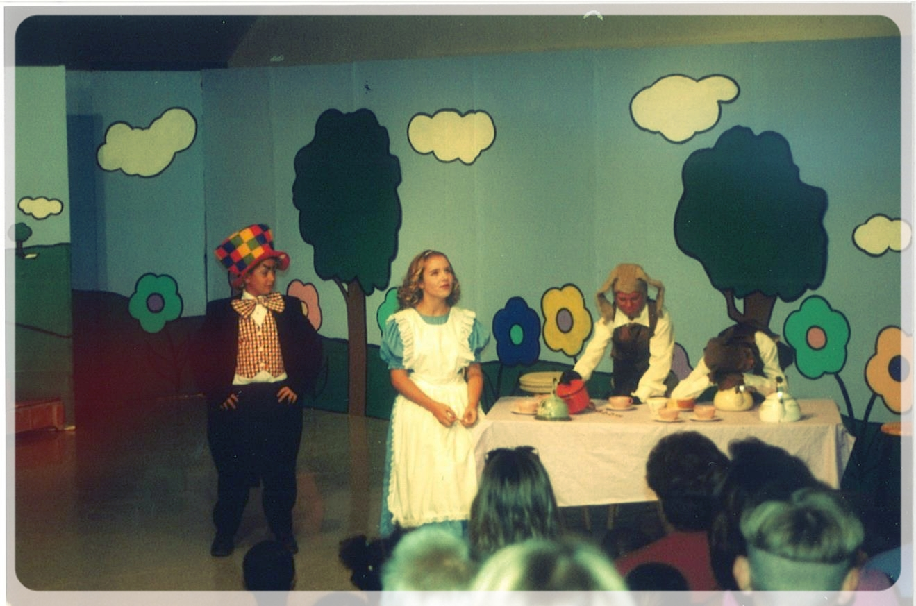Cast of the 1st Yorkshire Playhouse Children's Theatre  From Left to Right: The Madhatter: Nathan White, Alice: Samantha (Romans) Oberg, The March Hare: Brittni (Ellis) Clark, and The Doormouse: Courtney A. (Baker) Kinnison