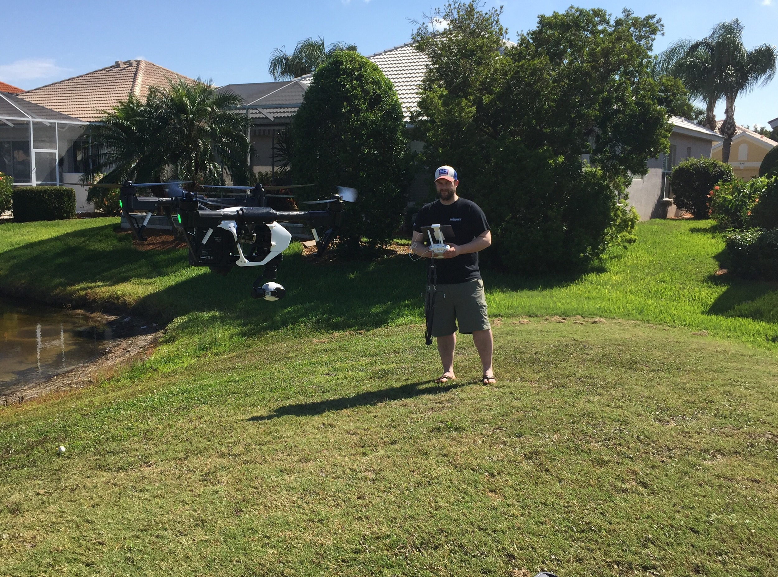 Testing the drone at a nearby golf coarse...  Only crashed it once