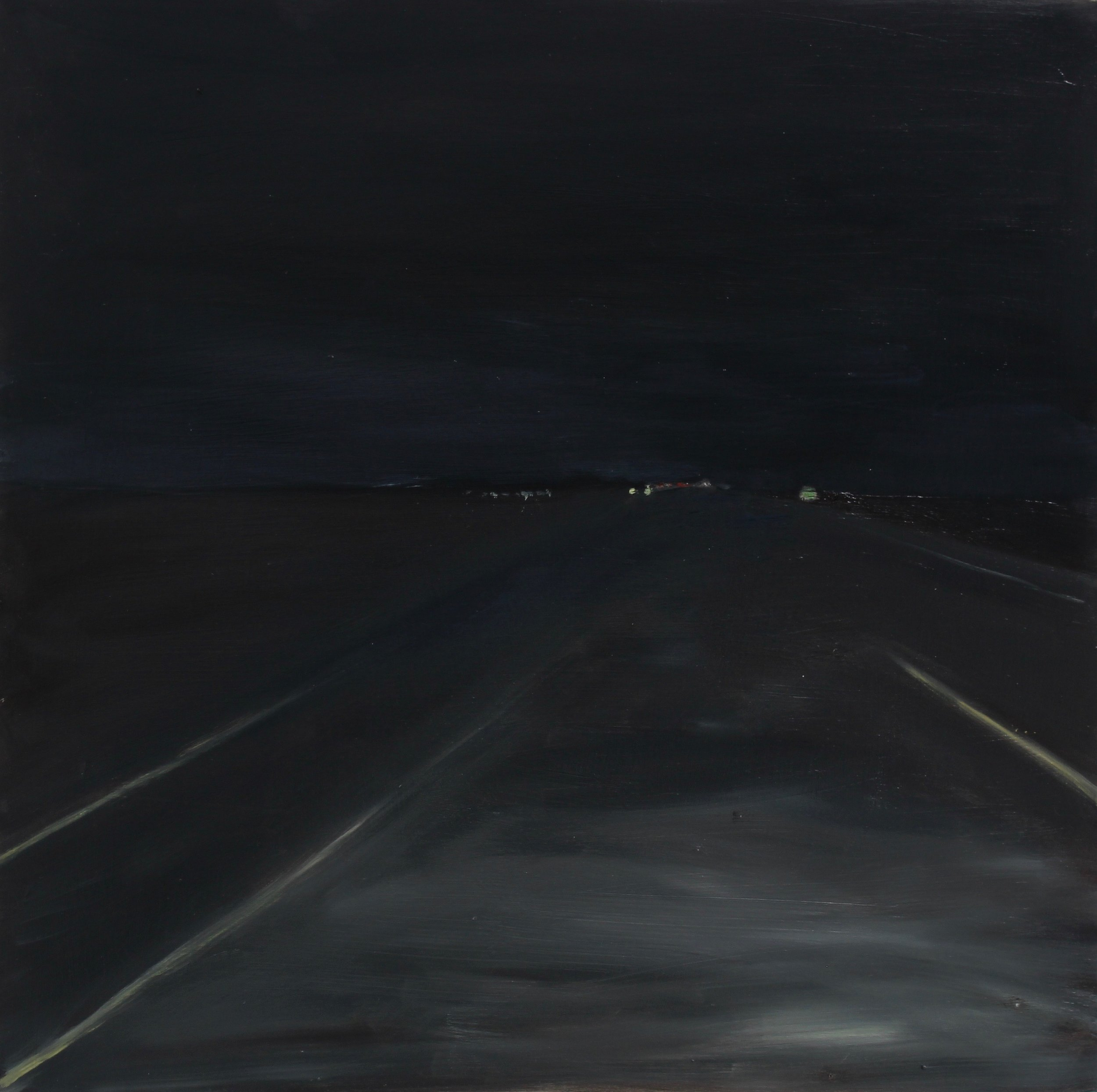 "Night 02, 2019 16""X16"" oil on wood panel"