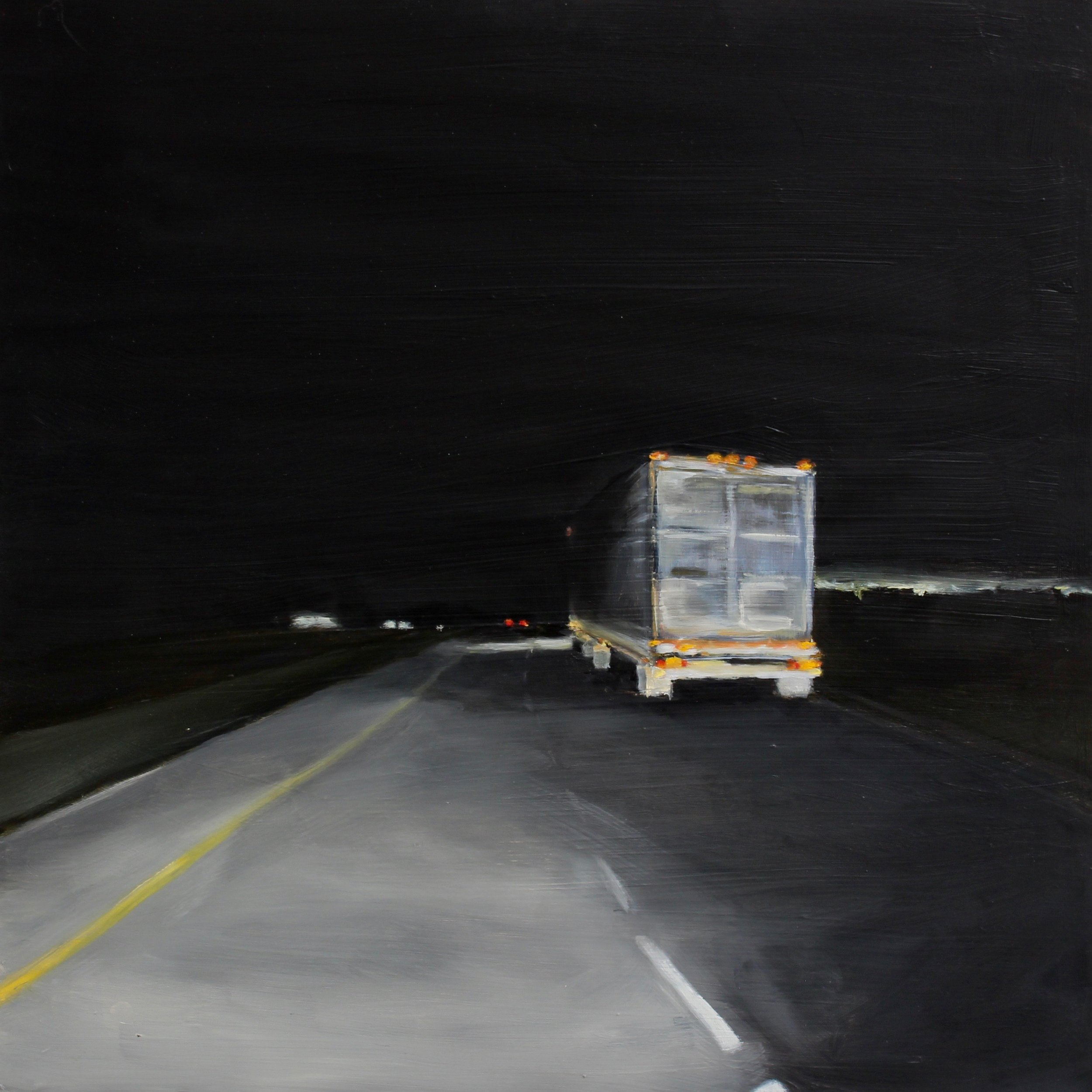 "Night 03, 2019 16""X16"" oil on wood panel"