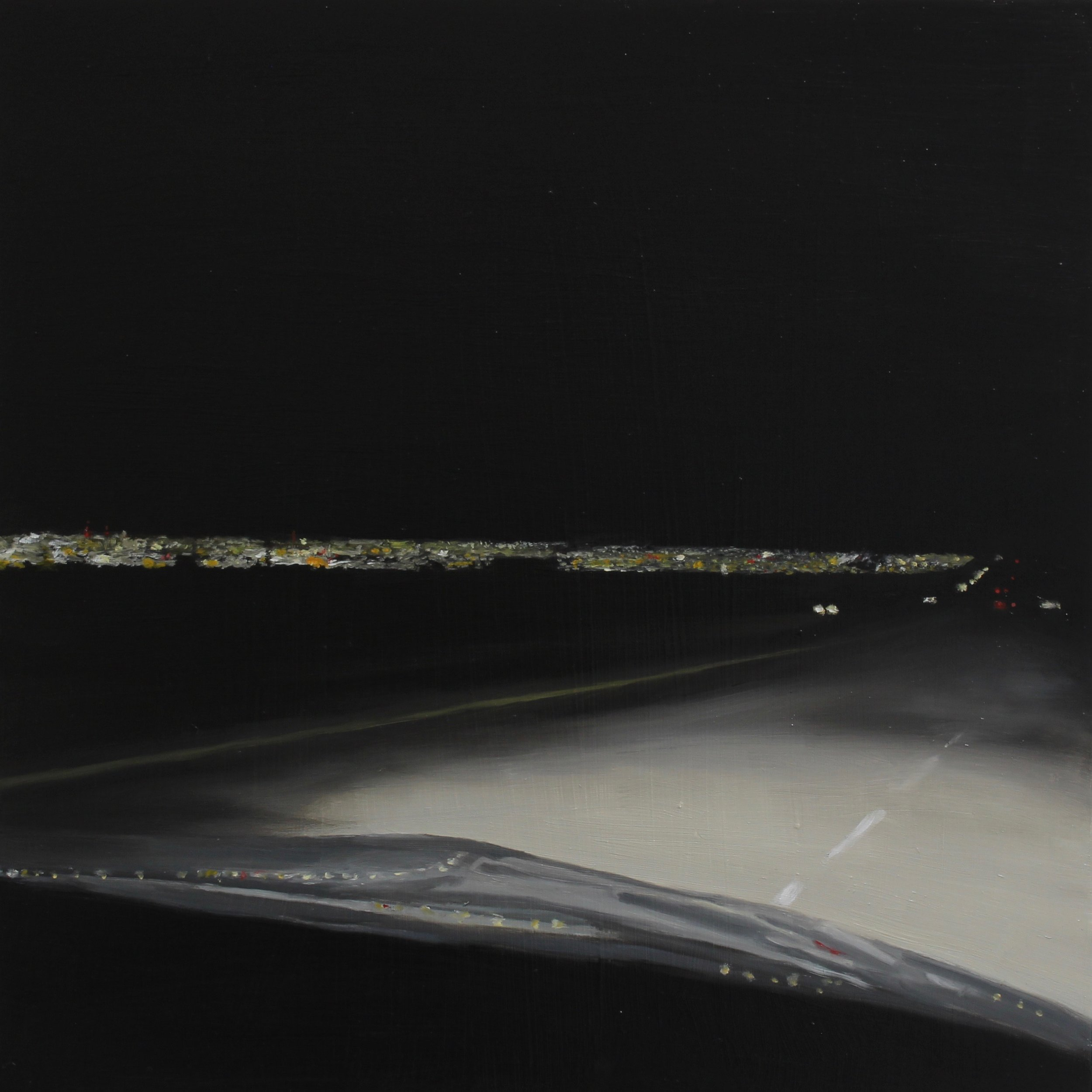 "Night 07, 2019 16""X16"" oil on wood panel"