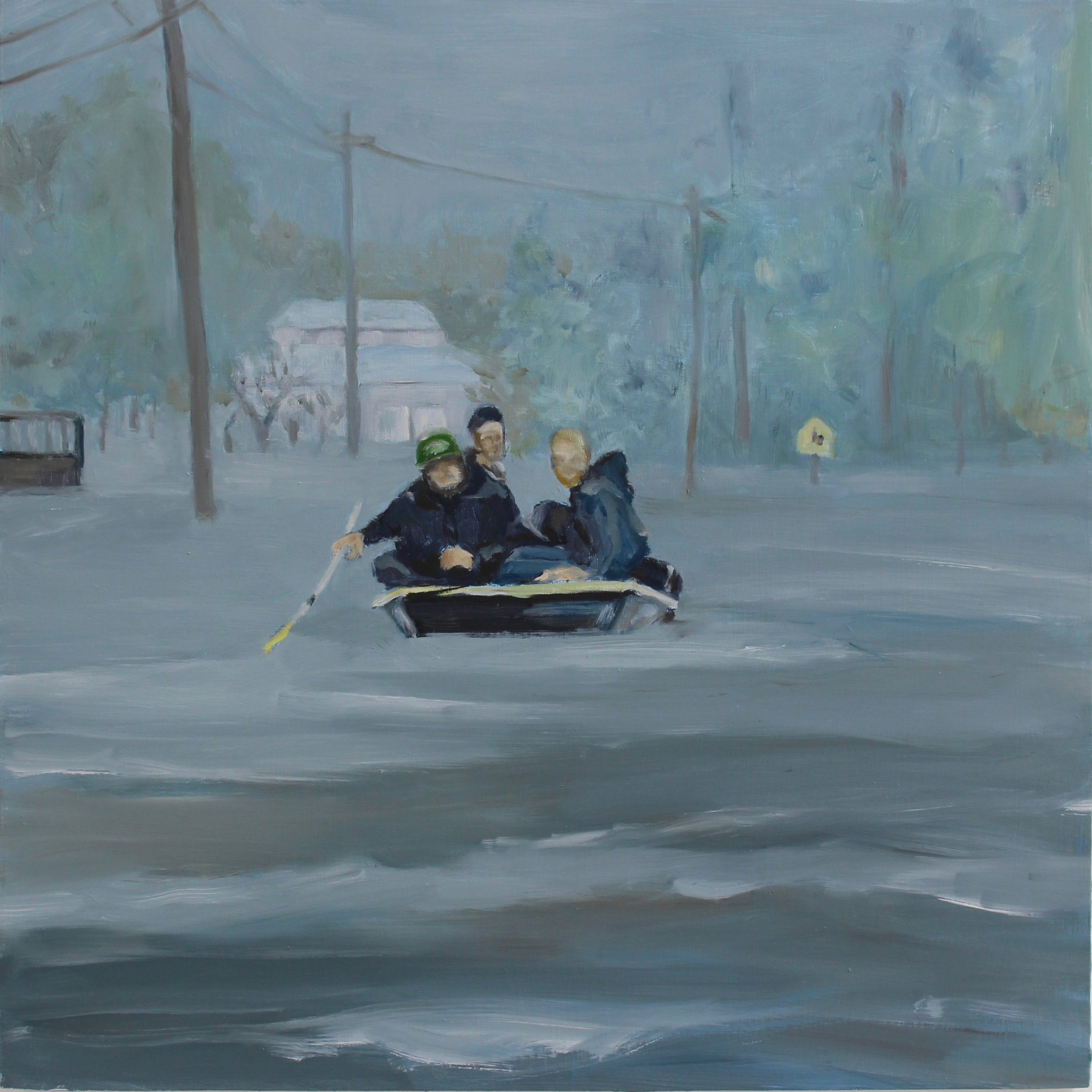 "Hurricane Florence, NC, 2019 16""X16"" oil on wood panel"