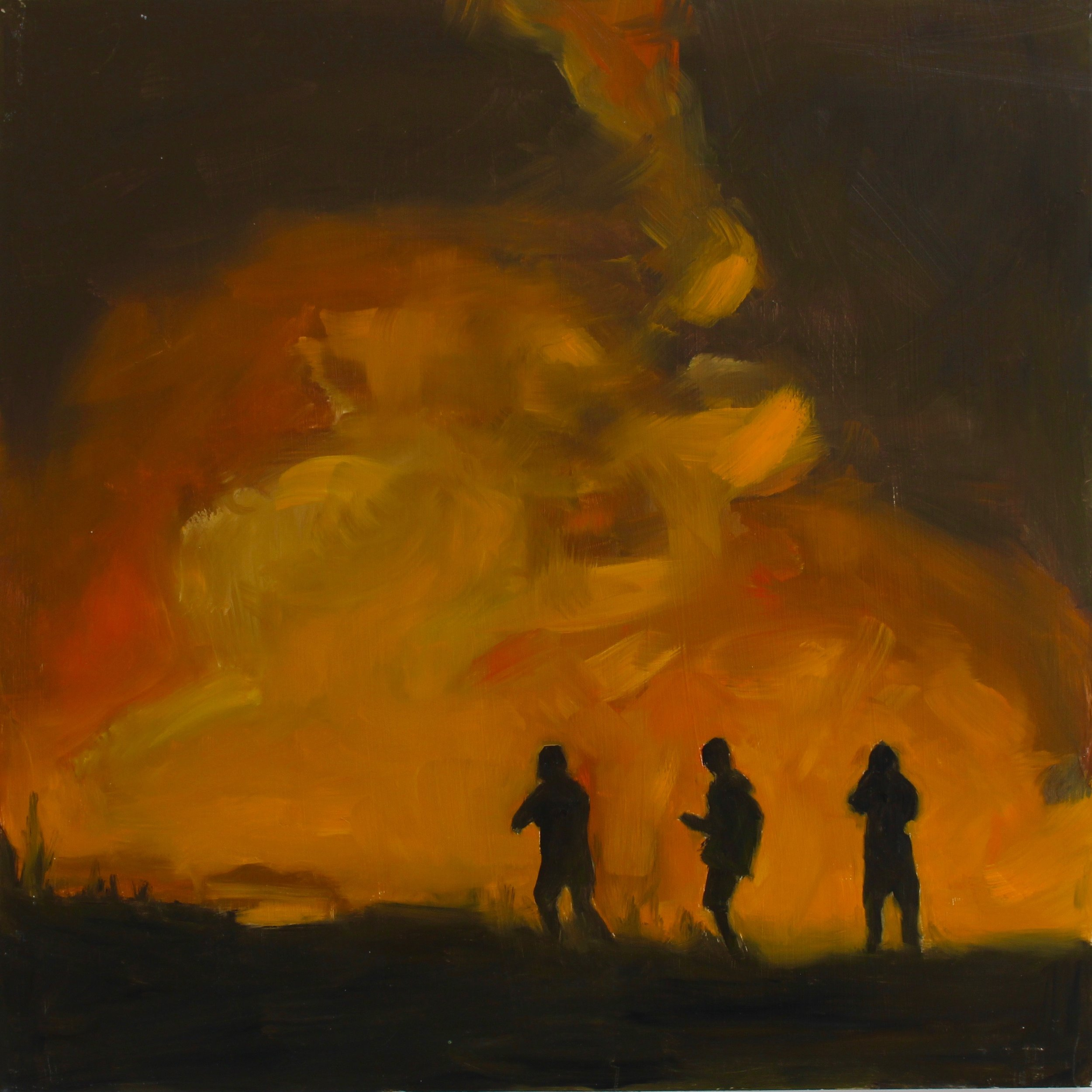 "Los Angeles Fire, 2018 16""X16"" oil on wood panel"
