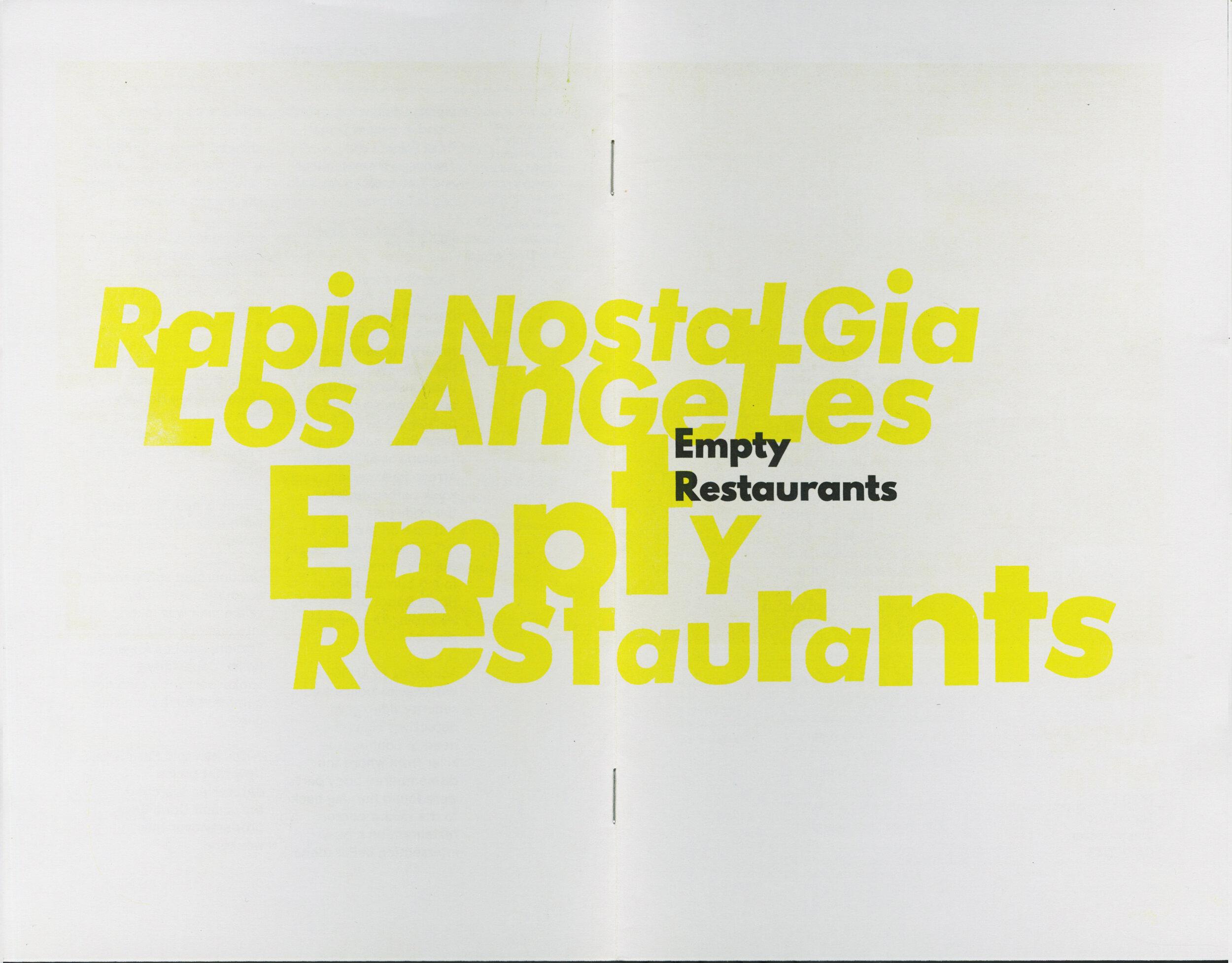 Coming Soon: Empty Restaurants - Rapid Nostalgia No. 003