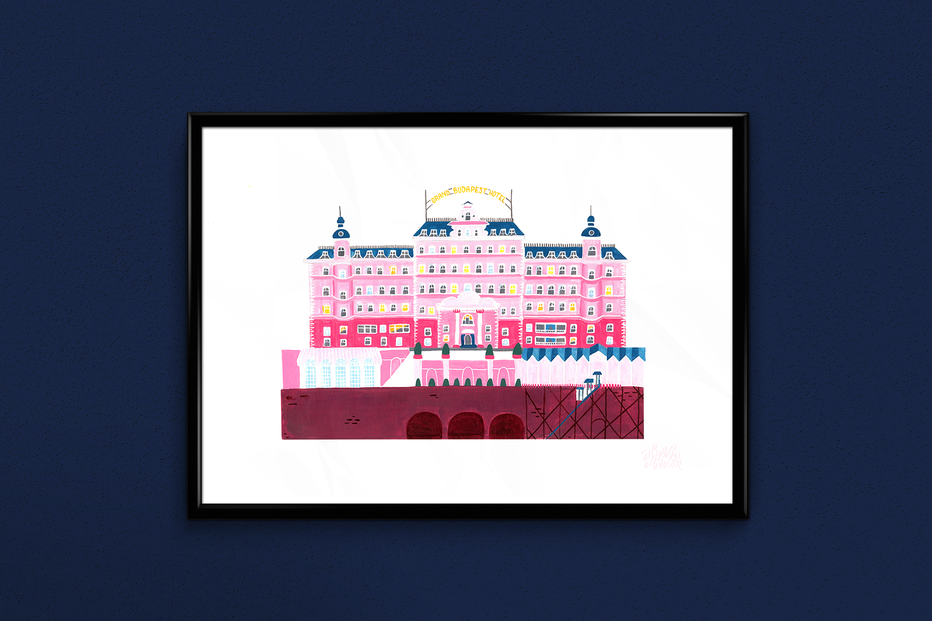 The Grand Budapest Hotel // Acrylic Ink