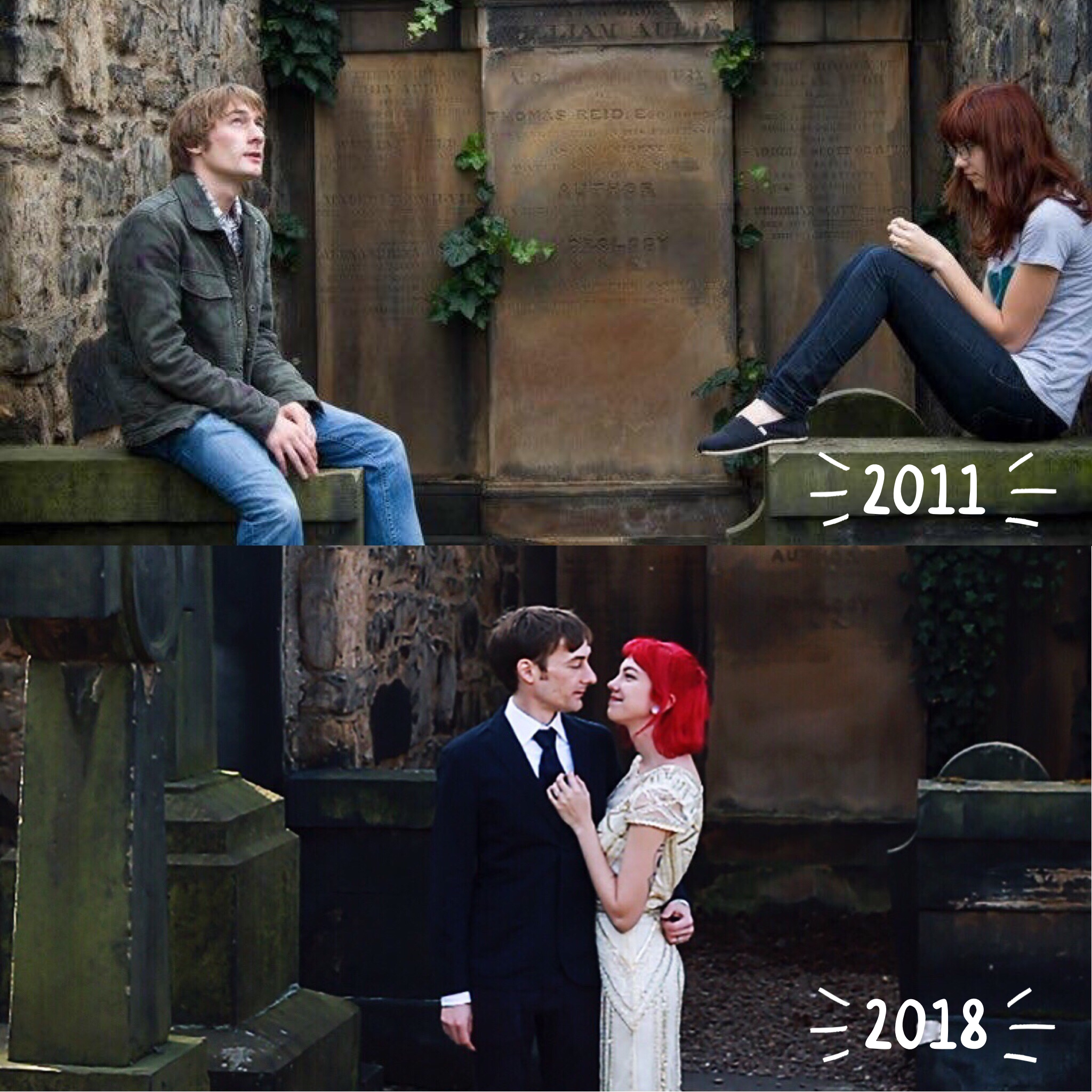 Alex and I took my favorite wedding photo in the same spot where we took one of our very first photos together