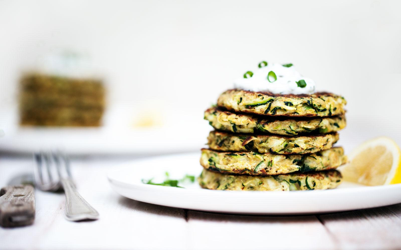 Zucchini Fritters with Lemon-Dill Yogurt Sauce // Natural Girl Modern World // Vegetarian & Gluten Free