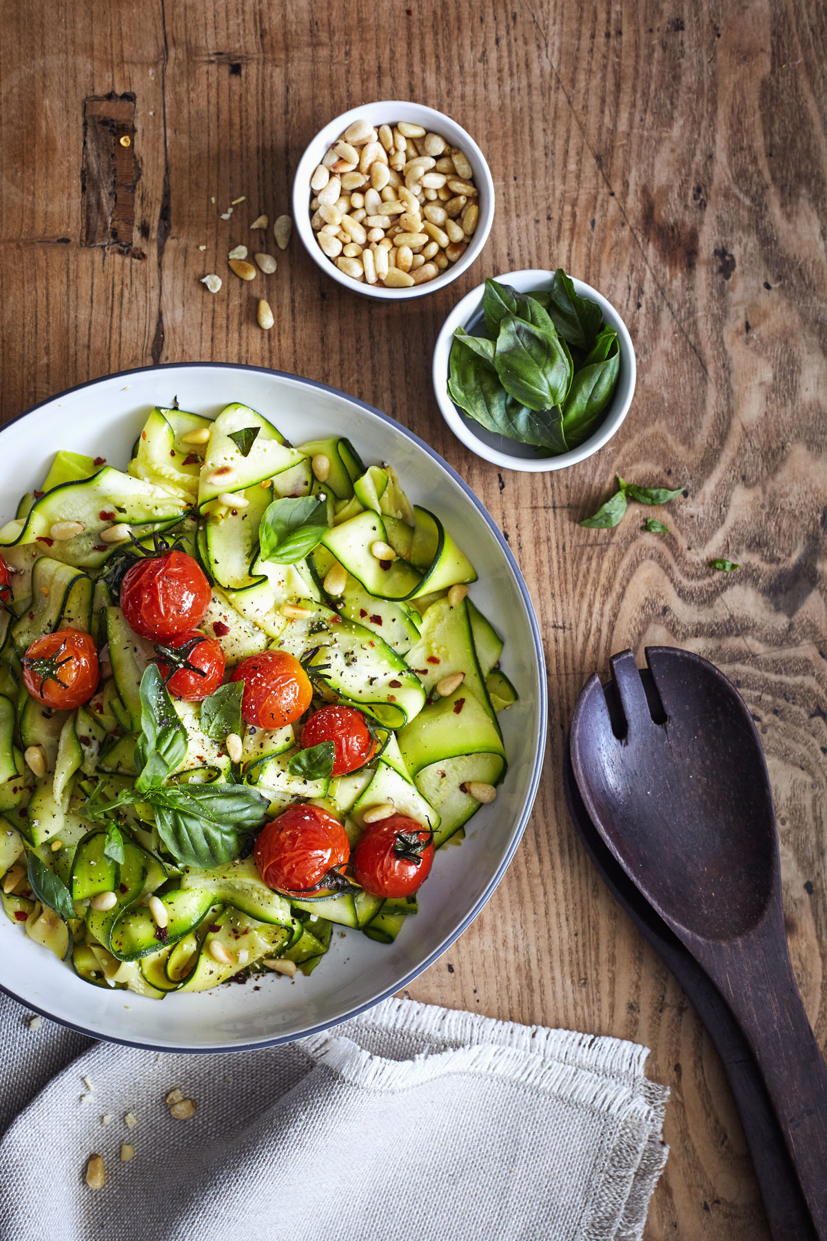 Zucchini Pappardelle with Roasted Tomatoes and Basil // Natural Girl Modern World // Vegan & Gluten Free