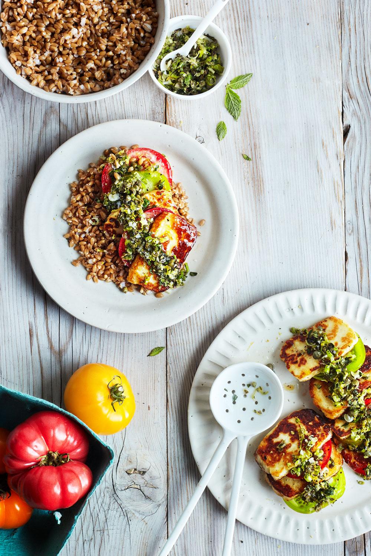 Seared Halloumi with Tomato & Fresh Herbs // Natural Girl Modern World // Gluten Free