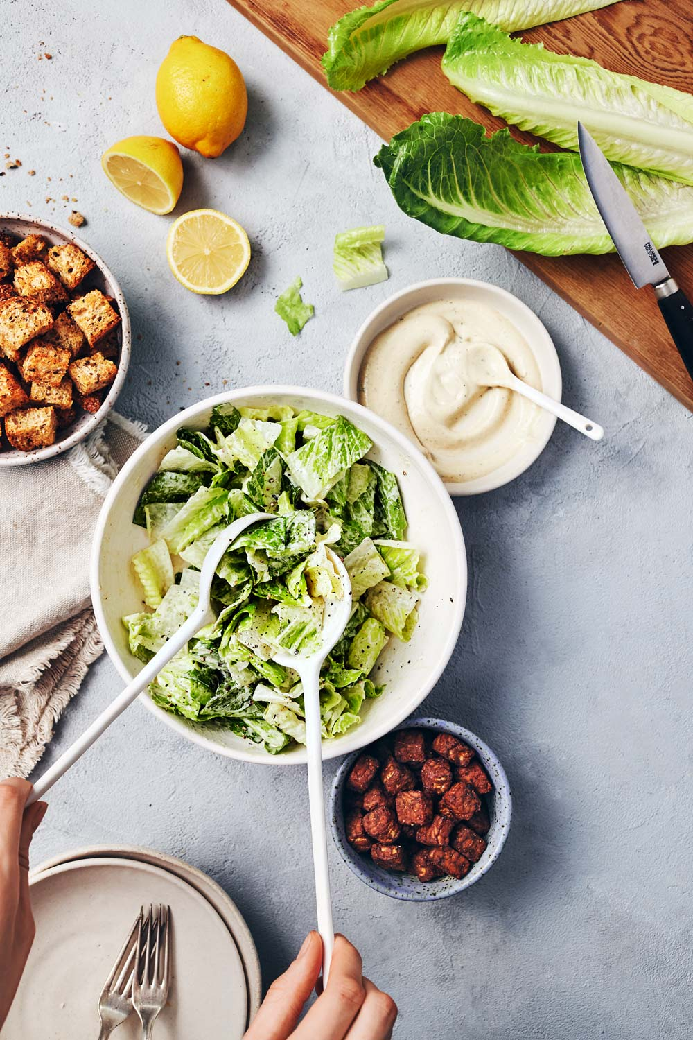 Vegan Caesar Salad with Shortcut Roasted Garlic // Natural Girl Modern World // Vegan