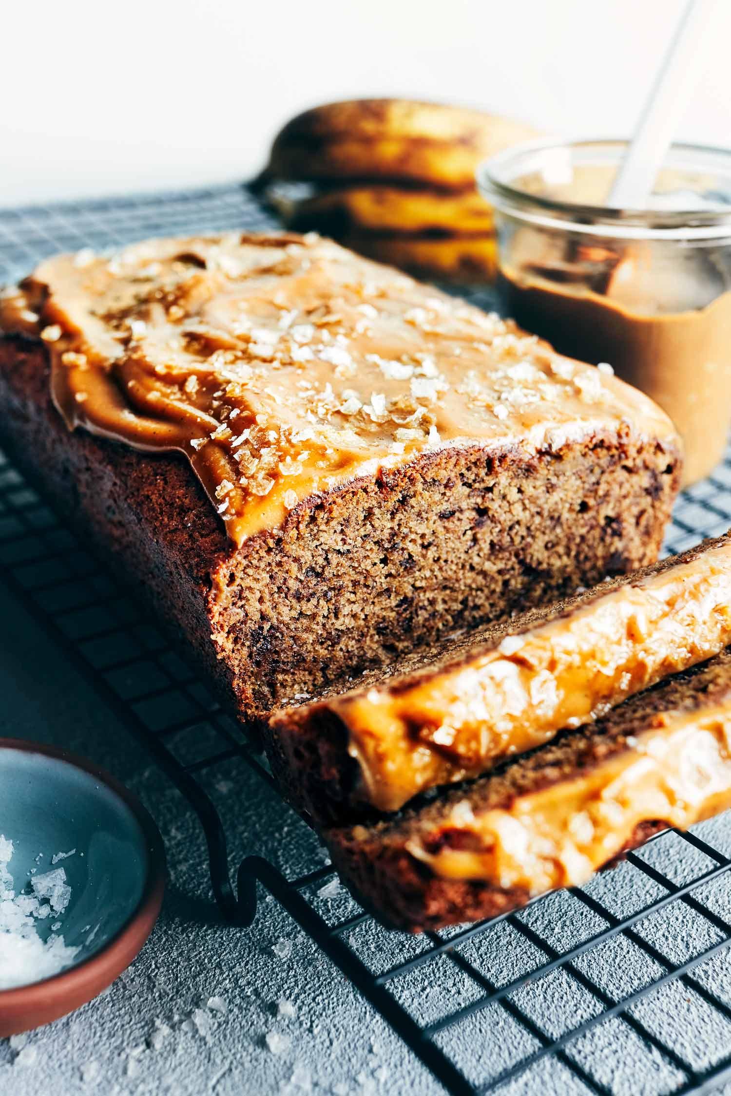 Salted Caramel Banana Bread | Evergreen Kitchen | Vegan
