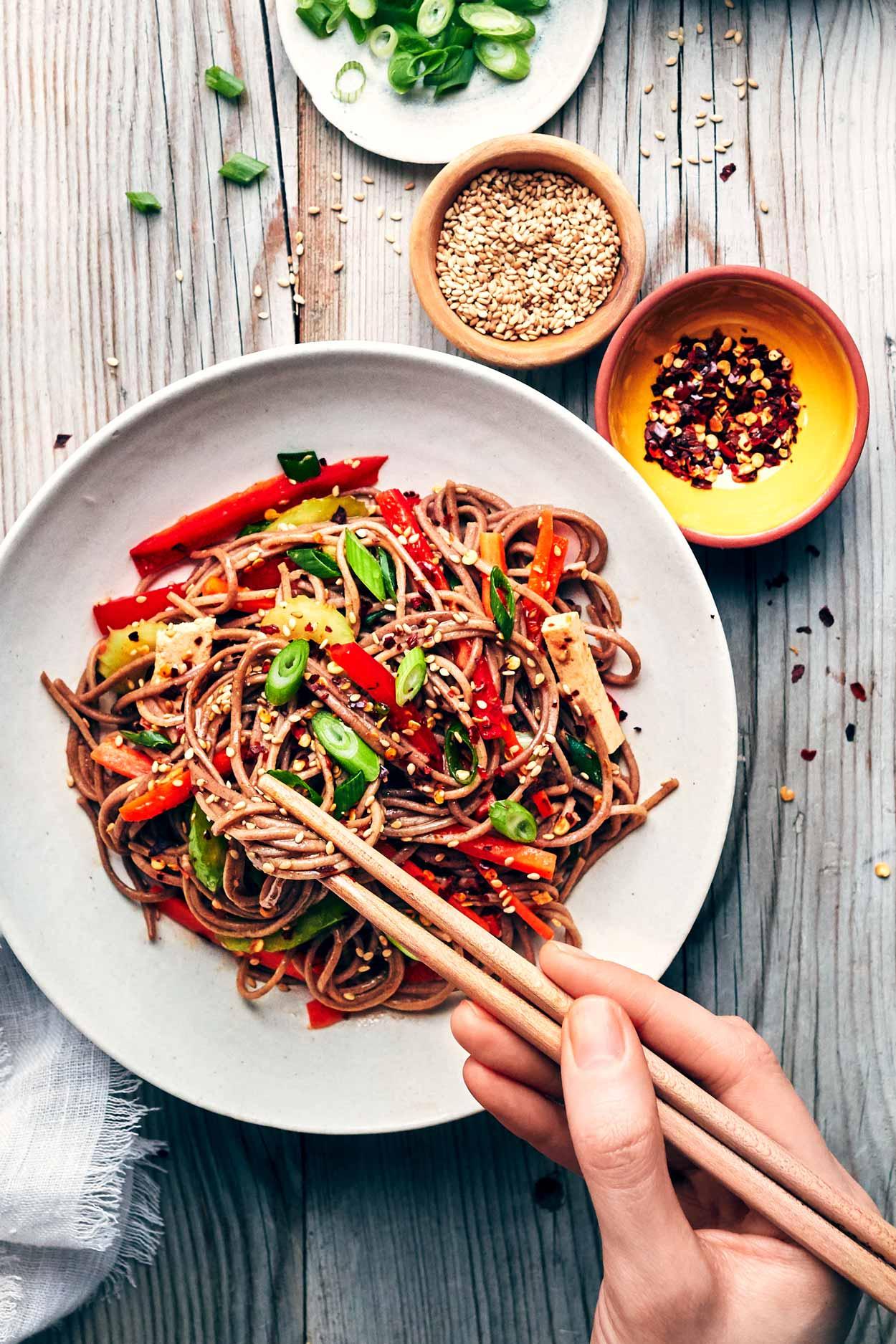 Sesame Soba Noodle Salad | Evergreen Kitchen | Vegan & Gluten Free (option)