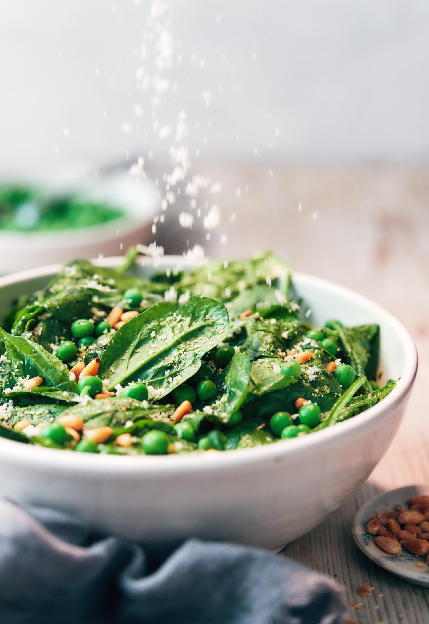 Pea & Pesto Spinach Salad | Evergreen Kitchen | Gluten Free, Vegan (option)