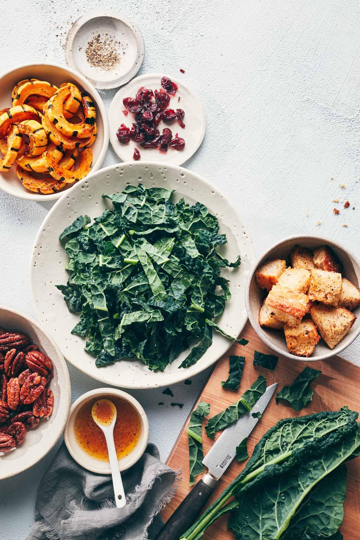 Festive Kale Slaw with Roasted Squash | Evergreen Kitchen | Vegan, Gluten Free (option)