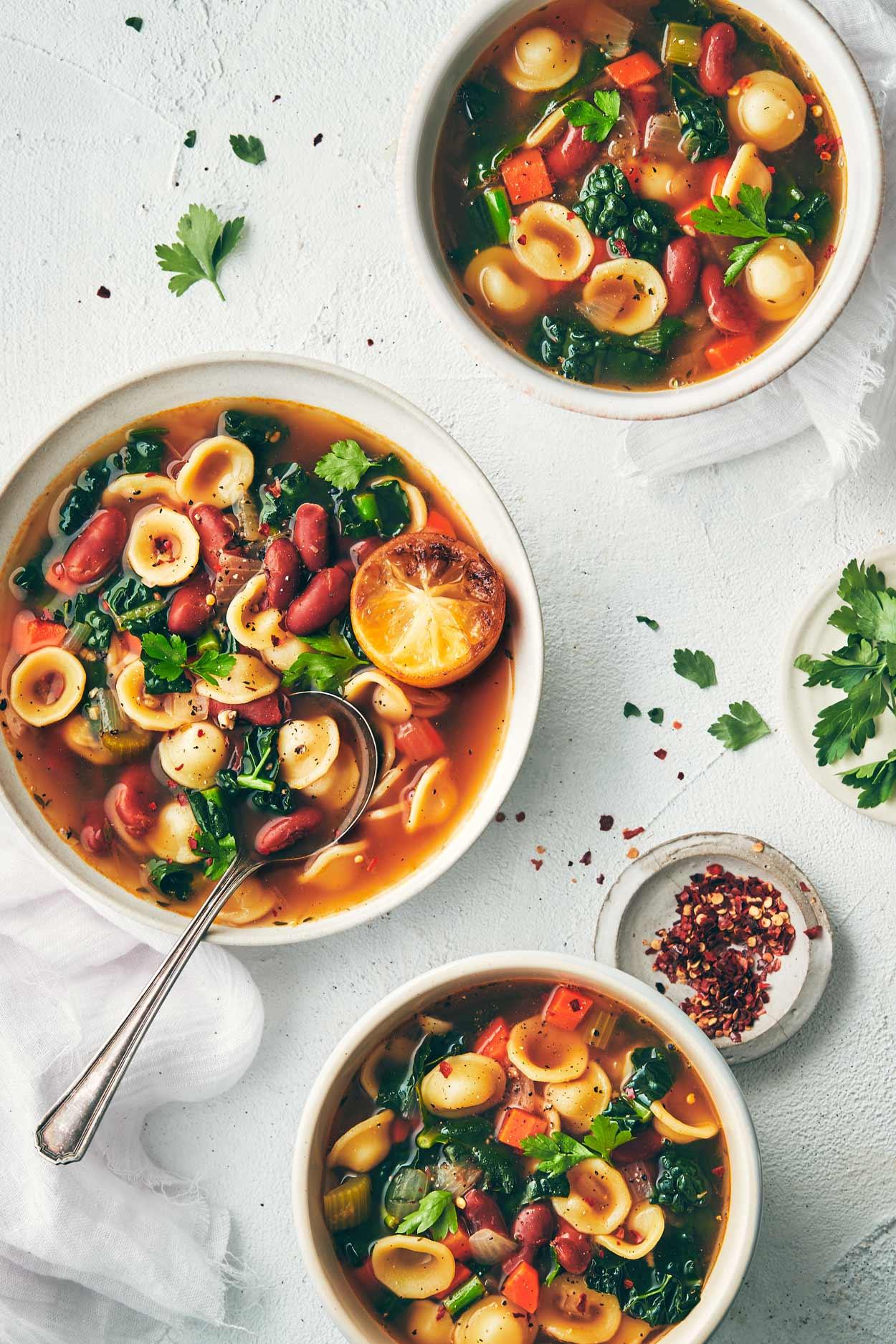 Veggie Bean Soup with Roasted Lemon | Evergreen Kitchen | Vegan
