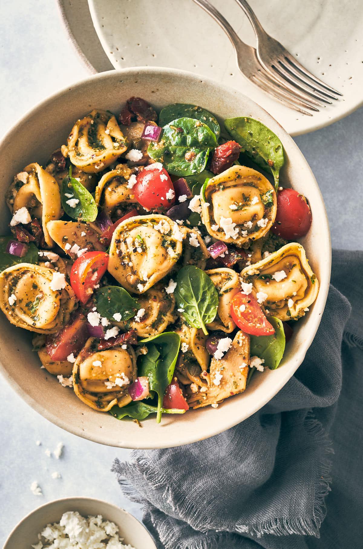 Mediterranean Tortellini with Pesto | Evergreen Kitchen | Vegetarian