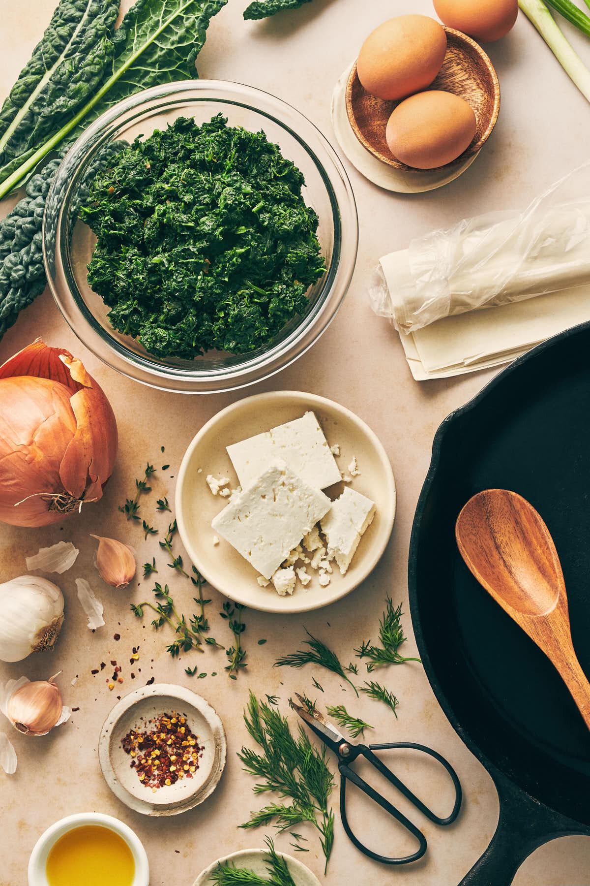 Skillet Pan Spanakopita (Spinach Pie) | Evergreen Kitchen | Vegetarian