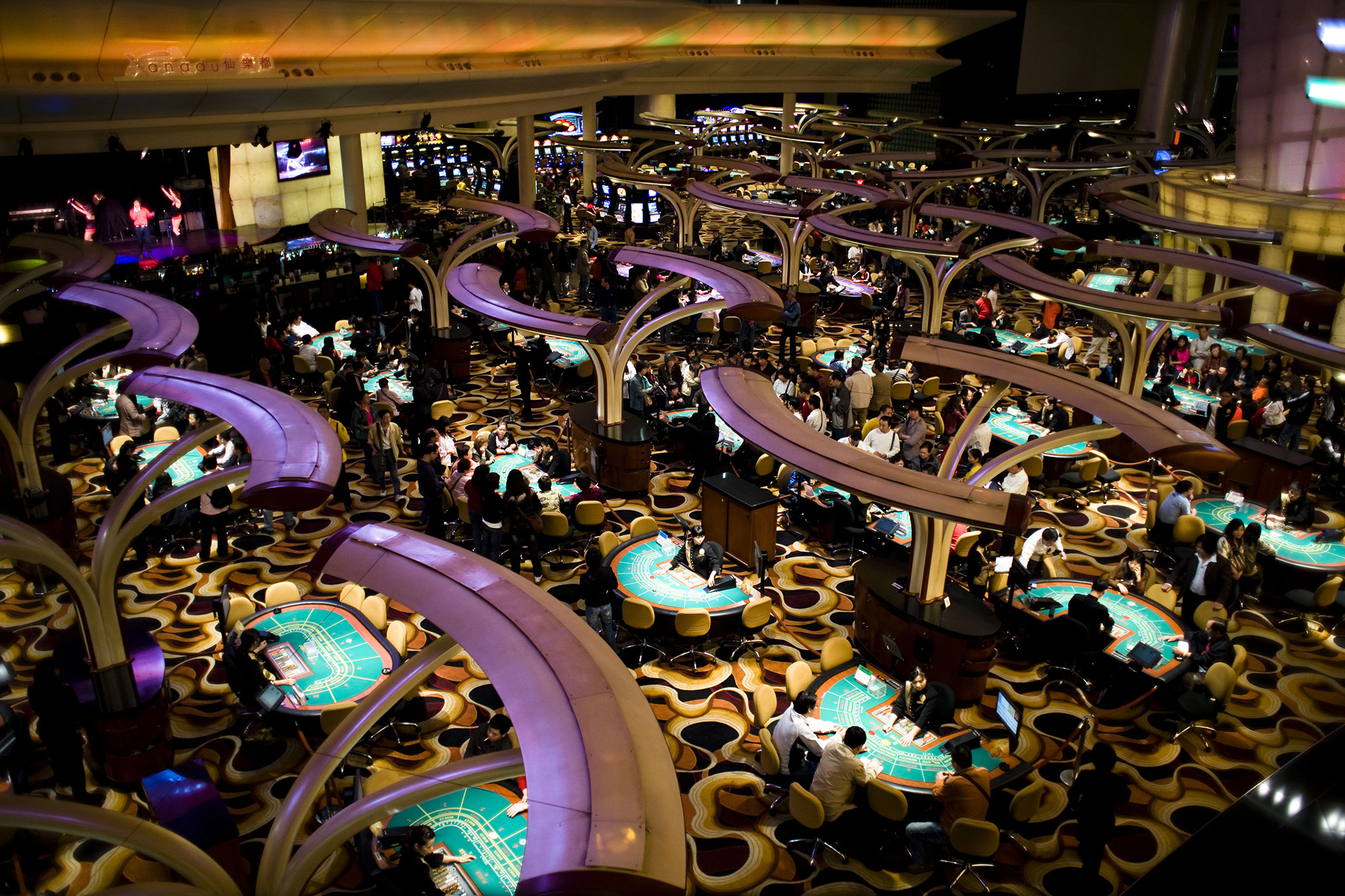 A sprawl of gaming tables.