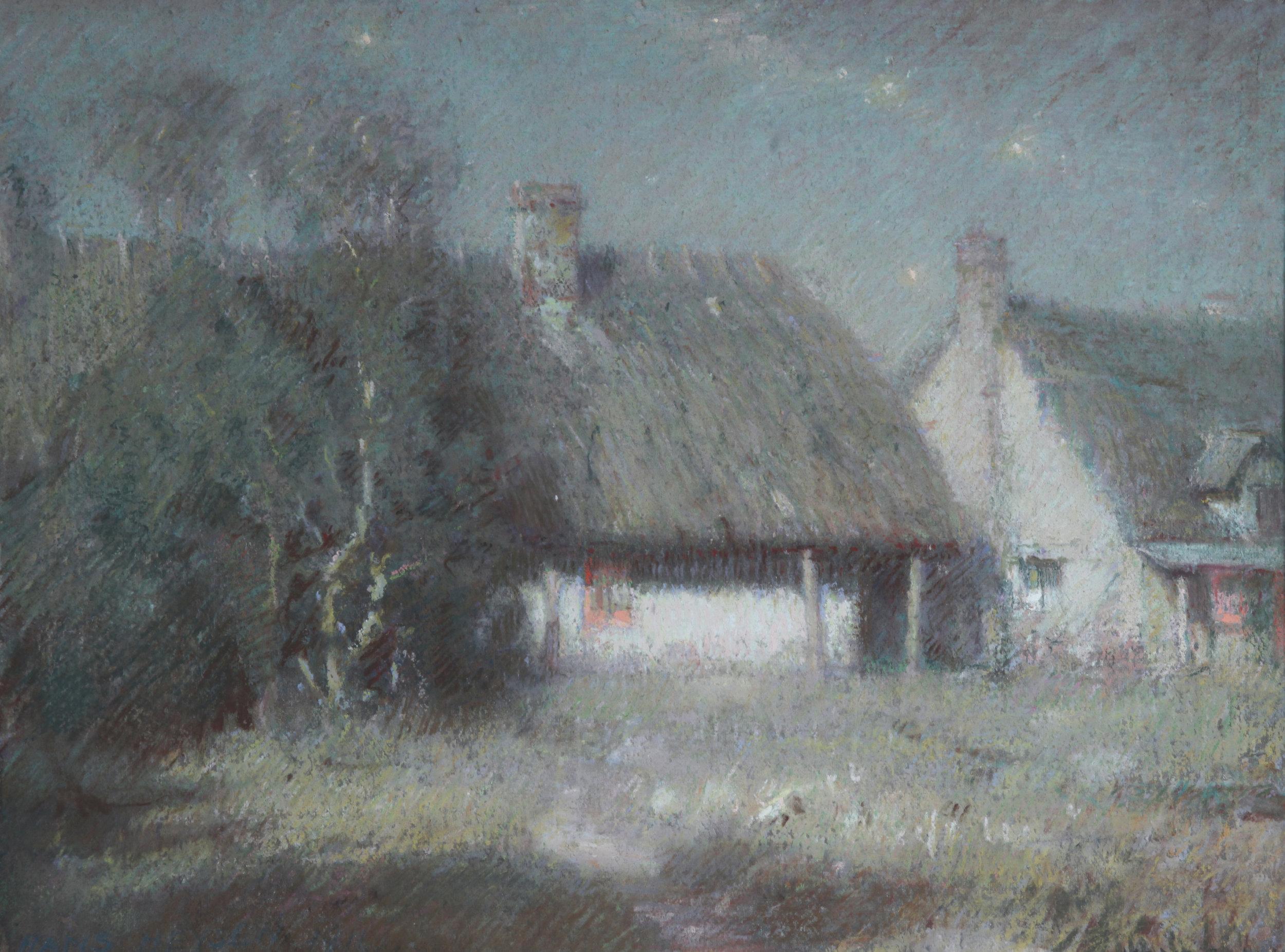 Sir Hans Heysen OBE 'Hahndorf Cottages in Moonlight' Medium pastels 1910