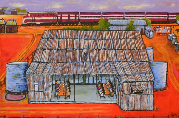 Kunyi June Anne McInerney,  Mission Buildings with Dining Area , 2017, acrylic on canvas, 61x91 cm. On loan from the Migration Museum, a division of the History Trust of South Australia, image courtesy of the artist.