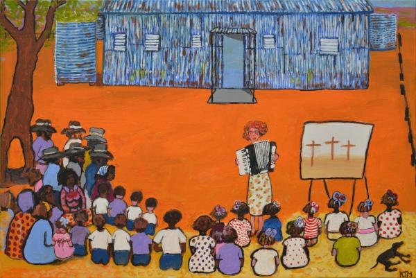 Kunyi June Anne McInerney,  Sunday Service , 2016, acrylic on canvas, 61x91 cm. Image courtesy of the artist.