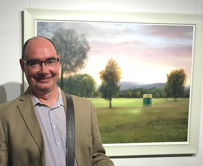 Daryl Austin with his work  Pakapakanthi/Victoria Park (Light Forms)