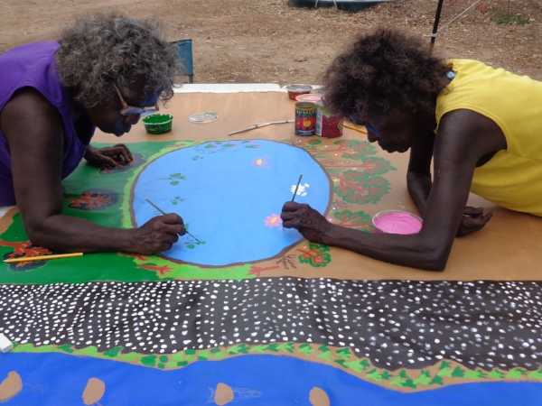 Lois Toikalkin and Jean Walmbeng, Language and Art Camp, Blue Lagoon (2013)