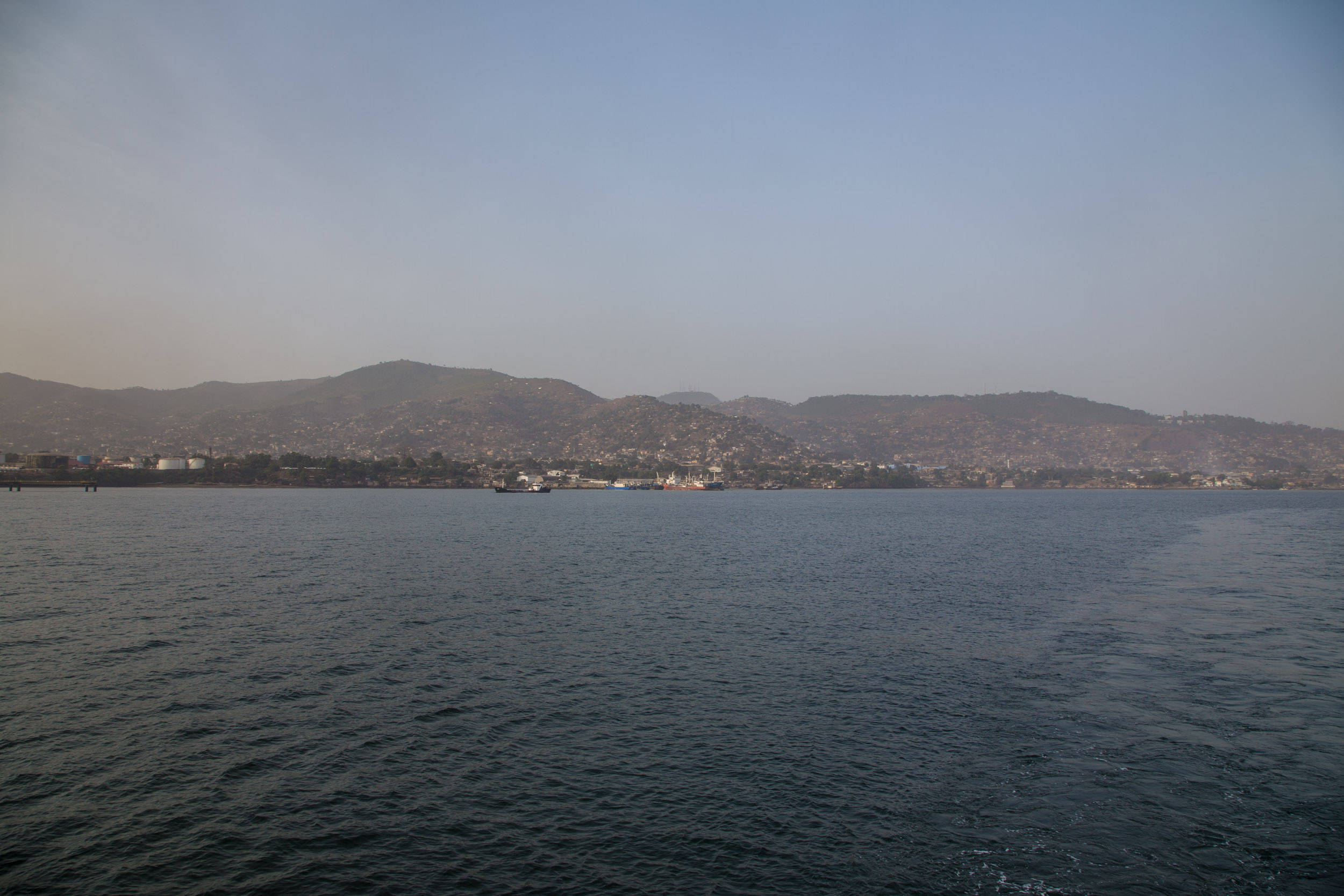 Freetown from the middle of the harbour